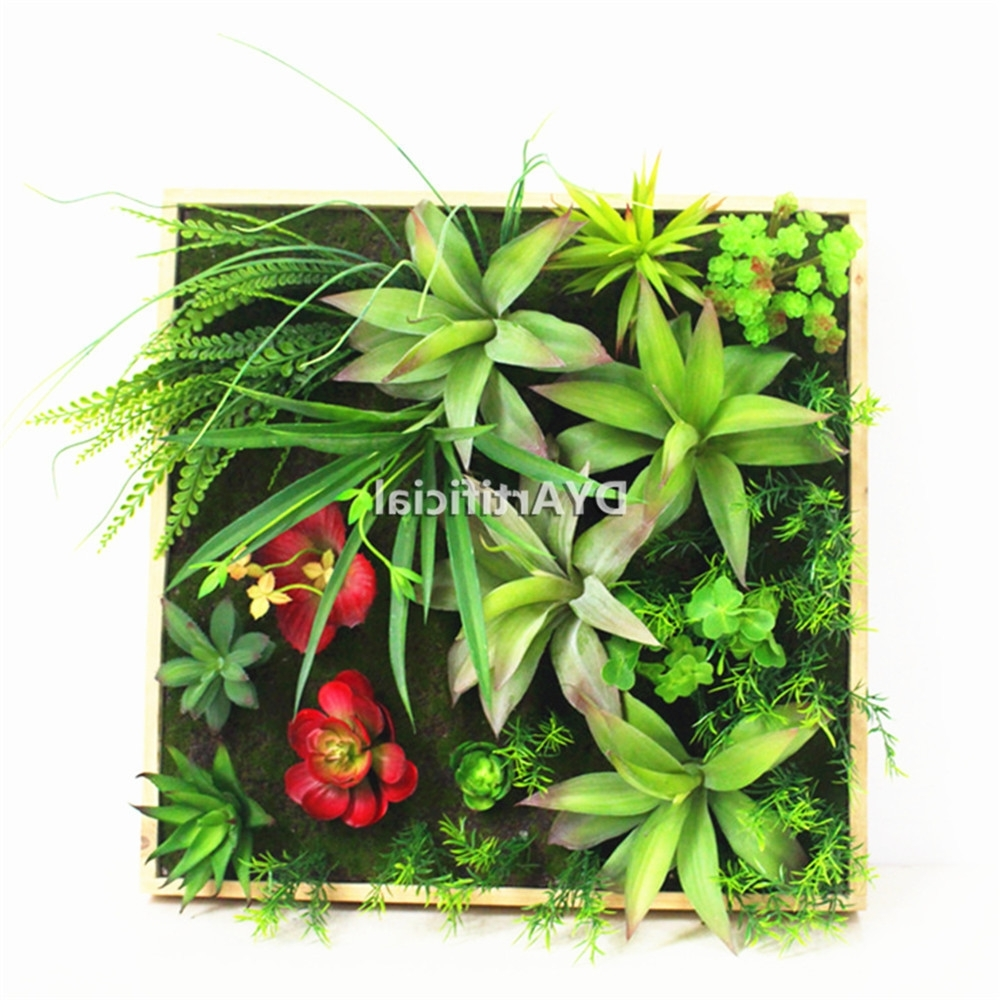 Succulent Wall Art In Well Known Framed Fake Artwork Green Succulent Plants Art Artificial Grass Wall (View 13 of 20)