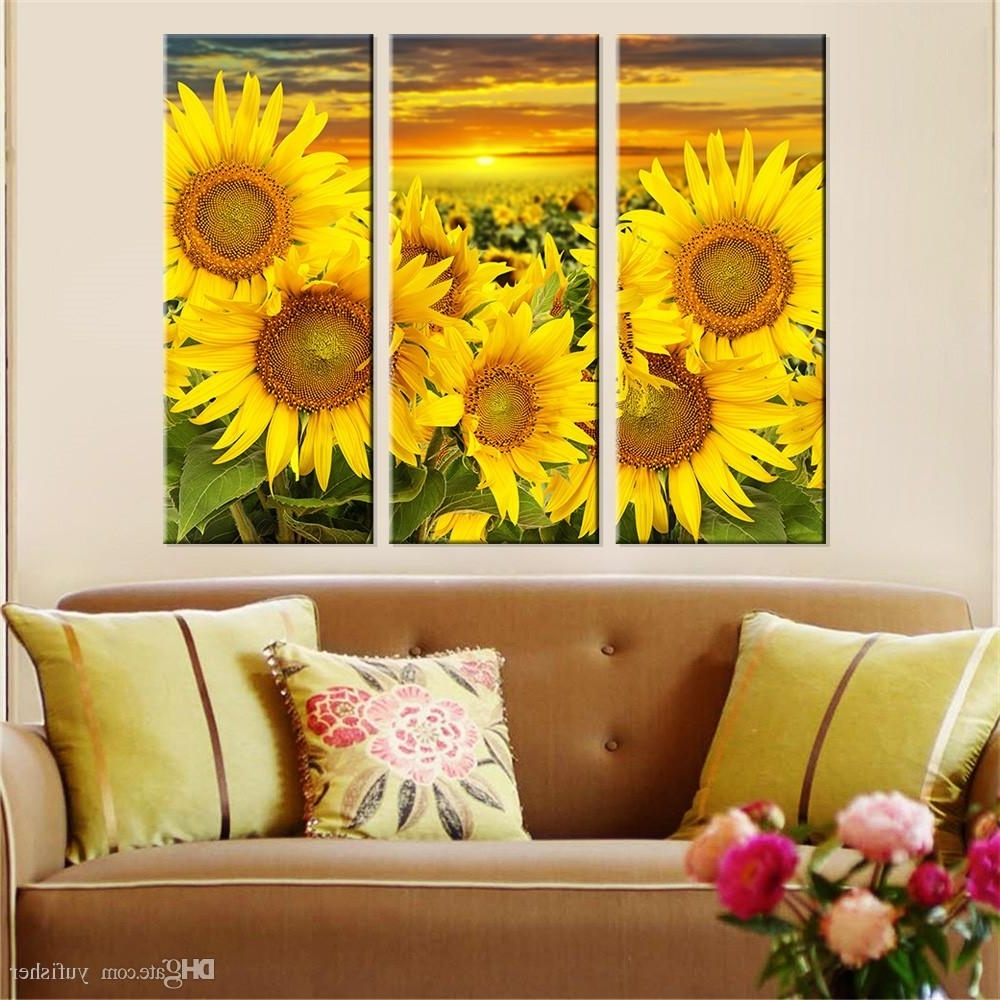 Sunflower Wall Art Throughout Most Popular 2018 Hot Canvas Prints Flower Sunflower Wall Art Painting Modern (View 16 of 20)