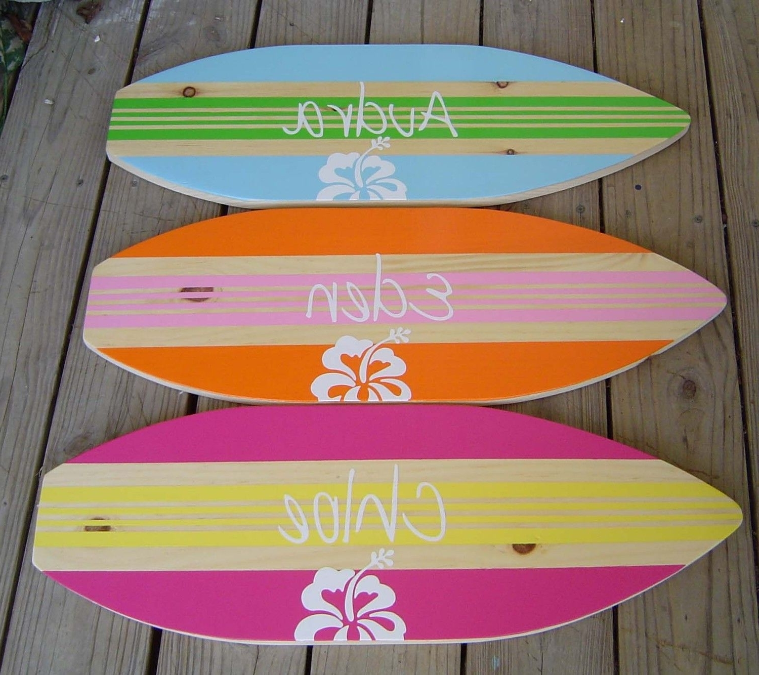 Surfboard Wall Art With Regard To Most Popular 27 Inch Personalized Hibiscus Surfboard Wall Art Beach Sign / Kids (View 17 of 20)