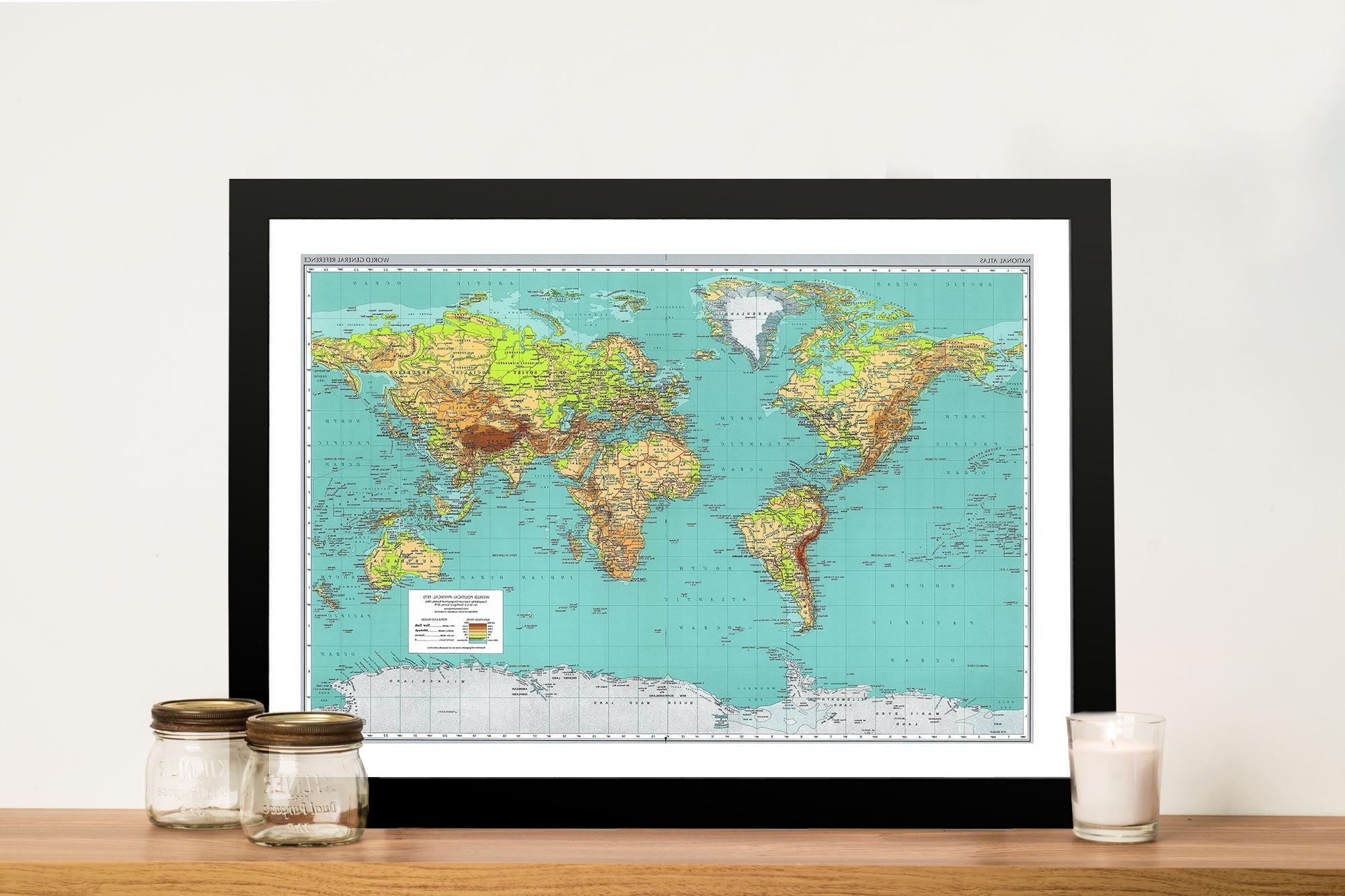 Teal Green World Map Framed Wall Art – Blue Horizon Prints Regarding Most Popular World Map Wall Art Framed (View 11 of 20)