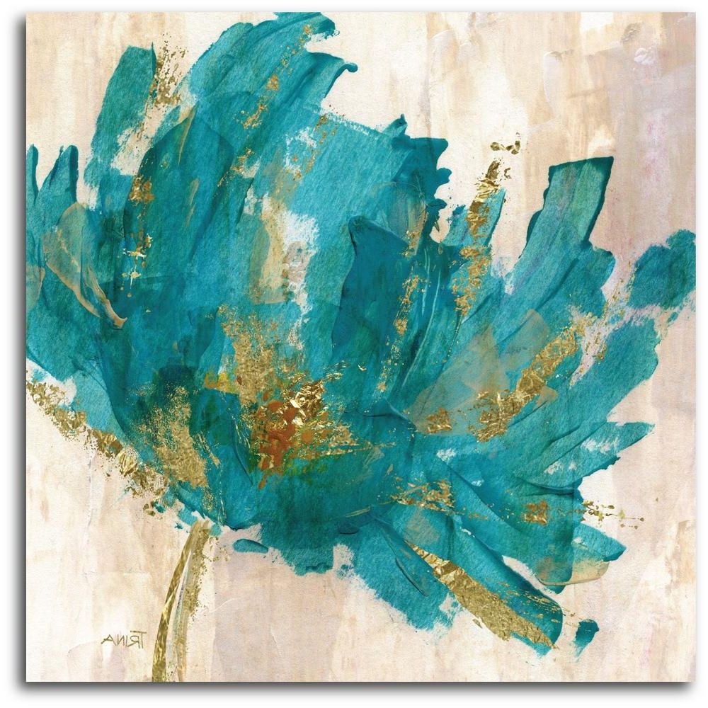 Teal Wall Art For Recent Contemporary Teal Flower Canvas Wall Art Web Ac180t – The Home Depot (View 9 of 15)
