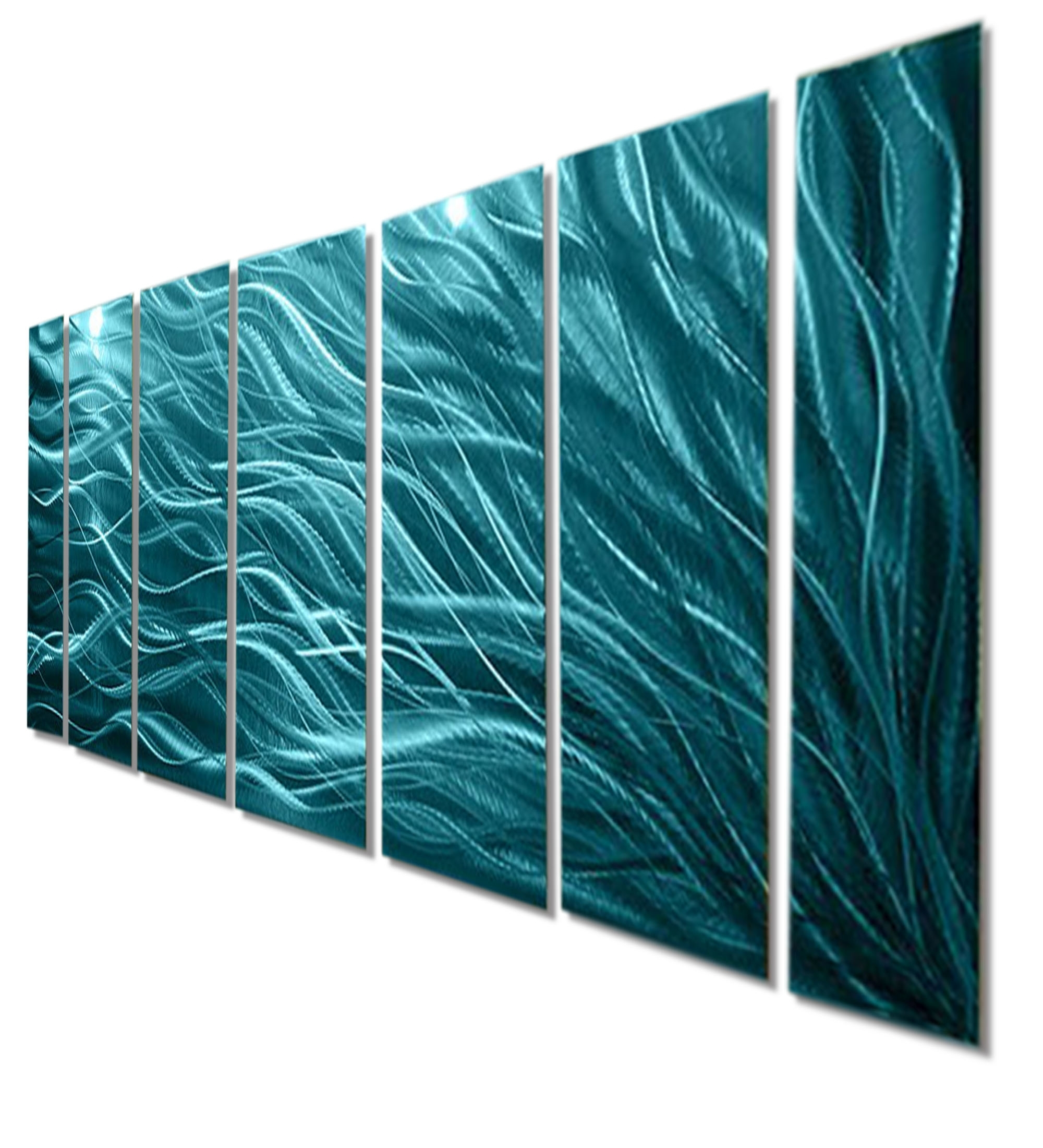 Teal Wall Art Inside 2017 Rays Of Hope Aqua – Large Modern Abstract Metal Wall Artjon (Gallery 5 of 15)