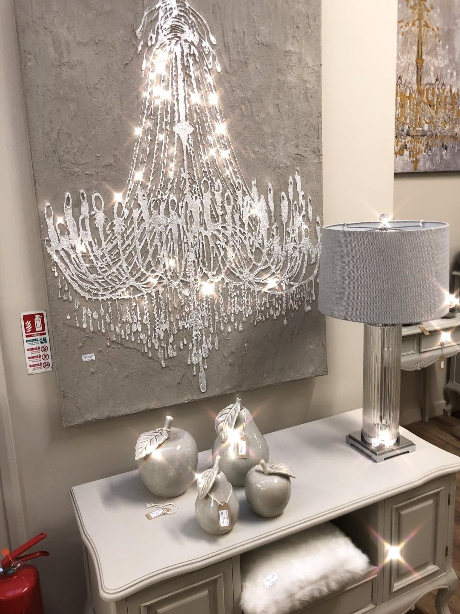 Textured Cement Effect Chandelier Wall Art (View 15 of 20)