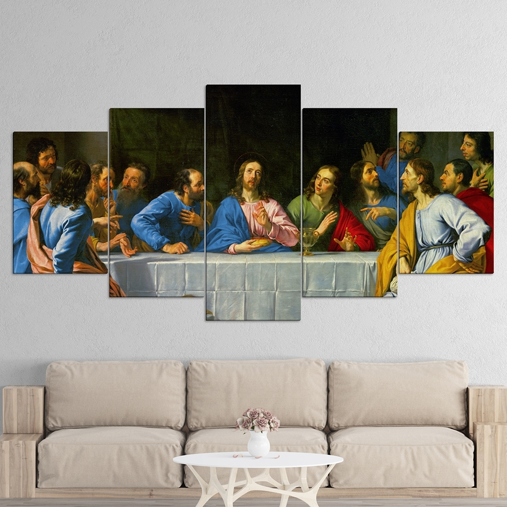 The Last Supper 5 Panel Canvas Wall Art – Roma's Memory Inside Most Recently Released 5 Panel Wall Art (View 14 of 20)