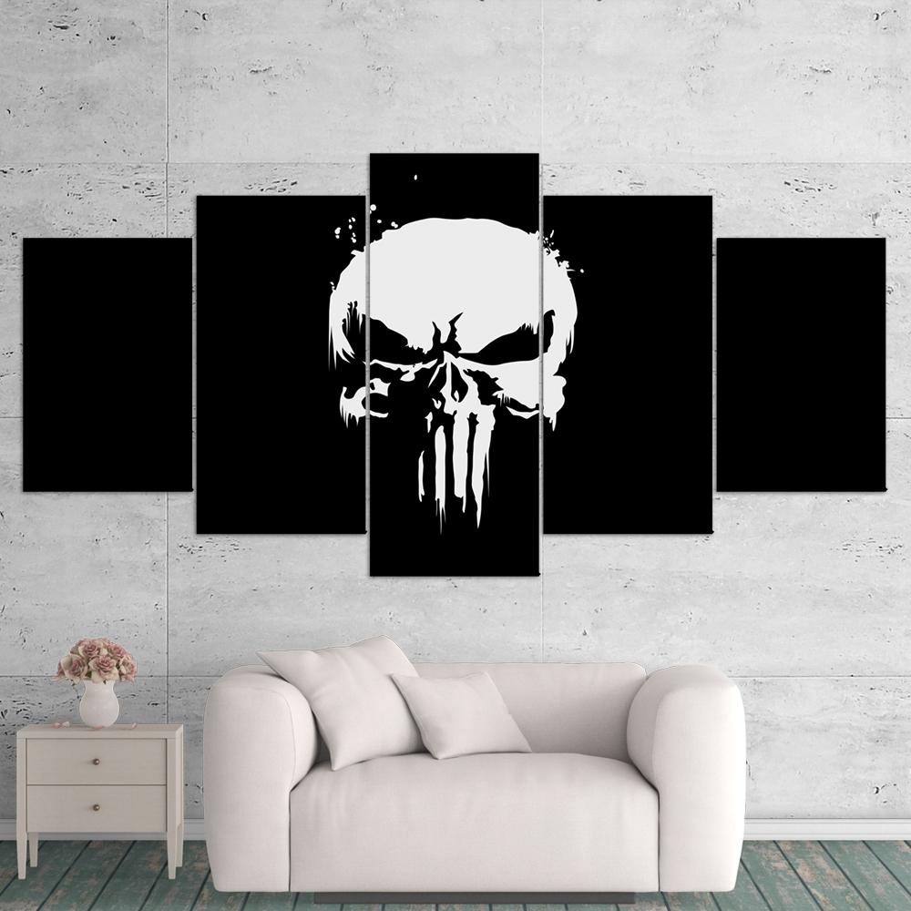 The Punisher 01 Logo 5 Piece Canvas Wall Art Gaming Canvas – Game Pertaining To Trendy 5 Piece Wall Art (View 17 of 20)