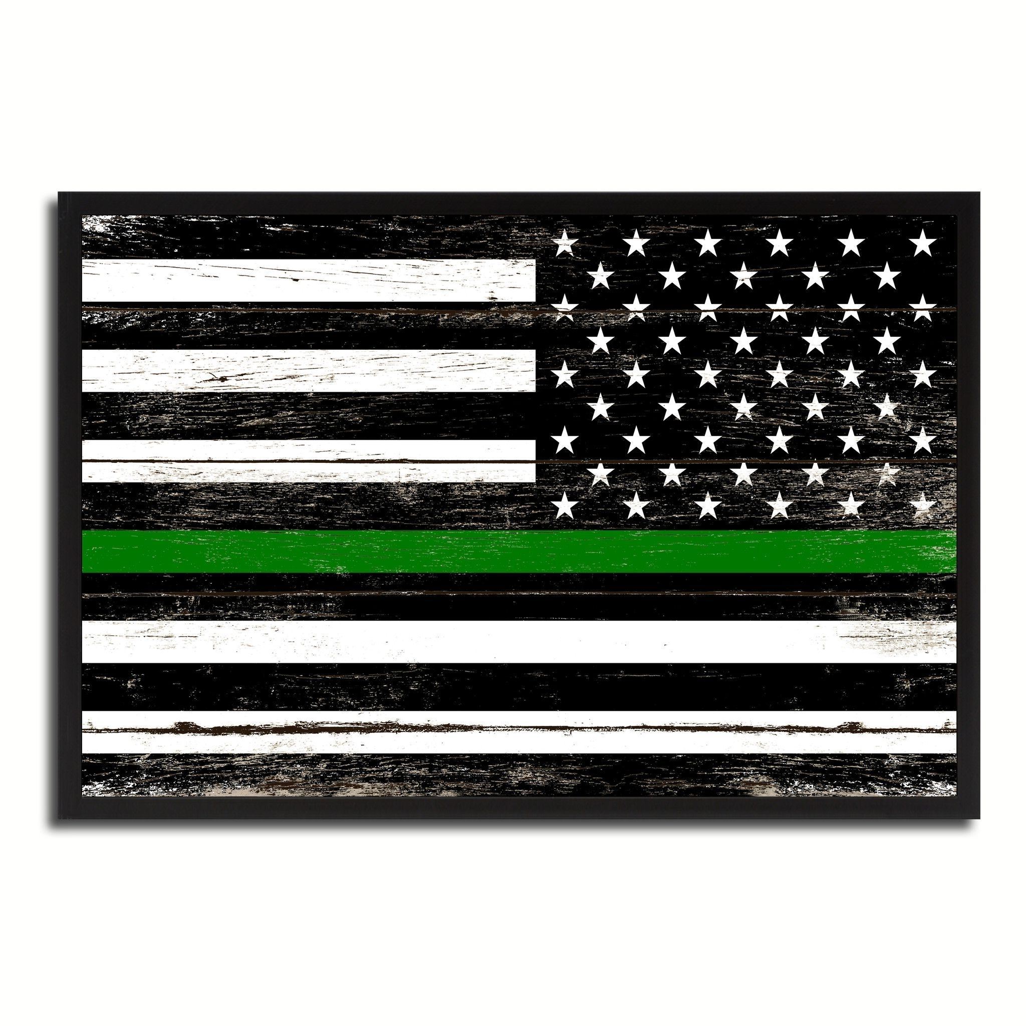 Thin Green Line Support Border Patrol American Usa Flag Vintage Intended For Preferred Vintage American Flag Wall Art (Gallery 13 of 20)
