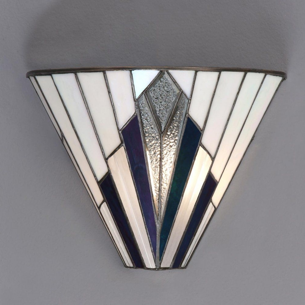 Tiffany Art Deco Wall Light With White, Blue, Purple And Clear Glass Inside Famous Art Deco Wall Art (View 18 of 20)