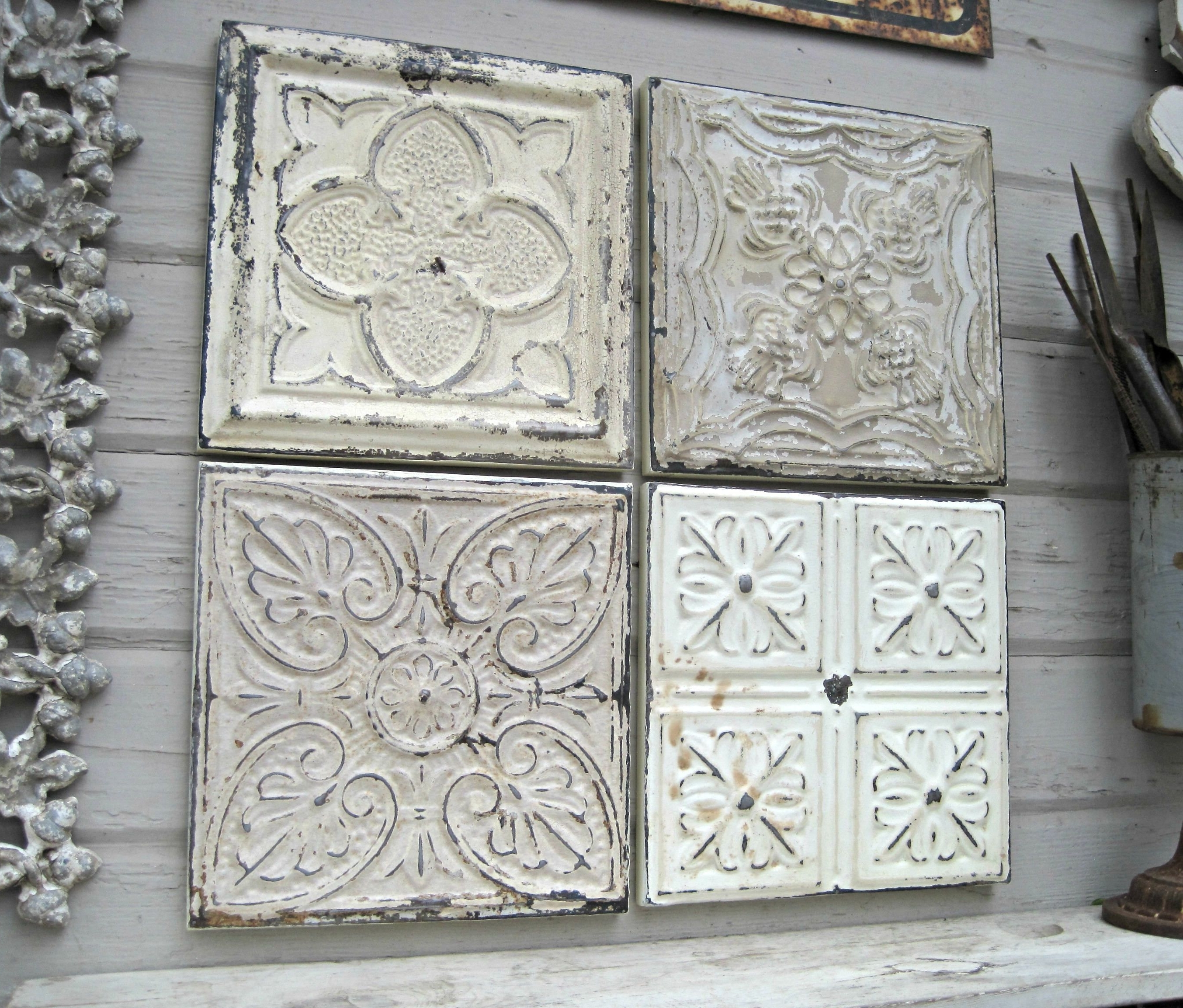 Tin Wall Art Within Famous Rustic Wall Decor, Antique Architectural Salvage, 4 Framed Ceiling (View 7 of 20)