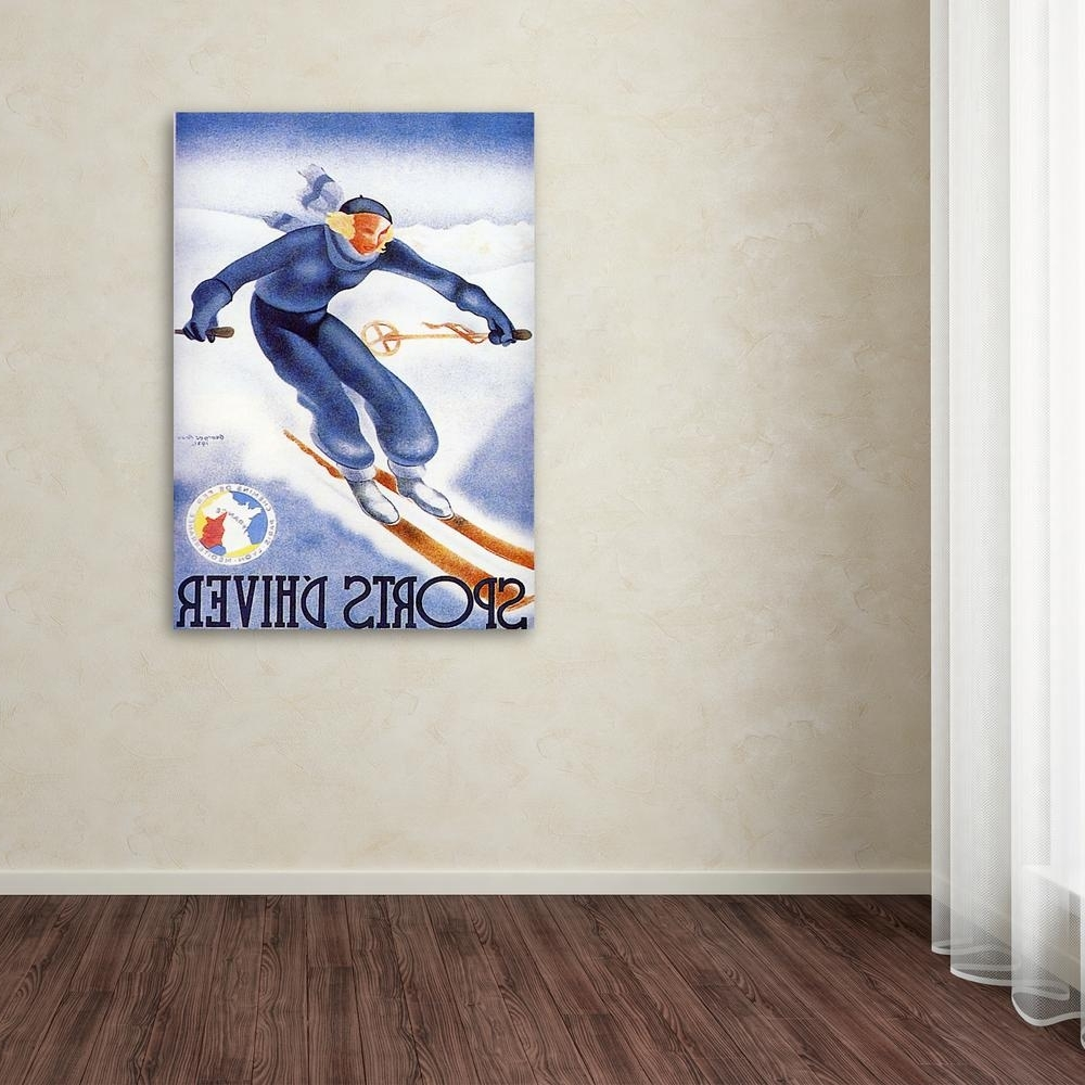"Trademark Fine Art 48 In. X 36 In. ""sports D'hiver""'sports D Throughout Best And Newest Sports Wall Art (Gallery 11 of 20)"