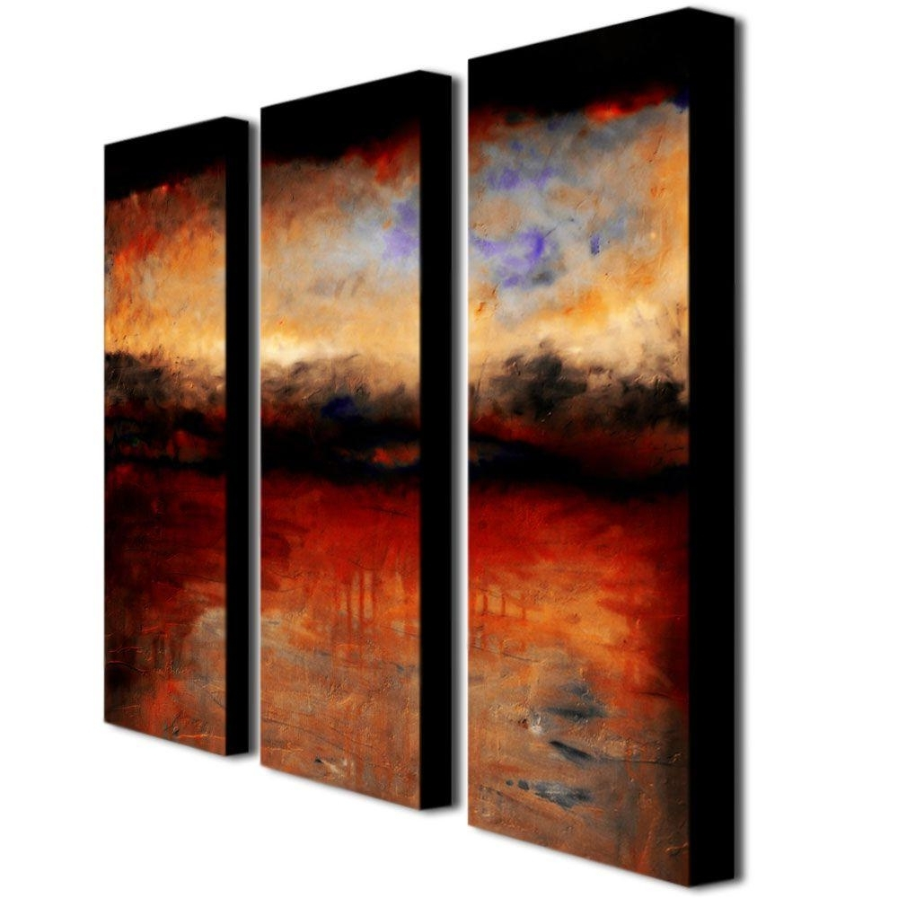 Trademark Fine Art Red Skies At Nightmichelle Calkins 3 Panel Pertaining To Favorite Canvas Wall Art Sets (View 15 of 15)