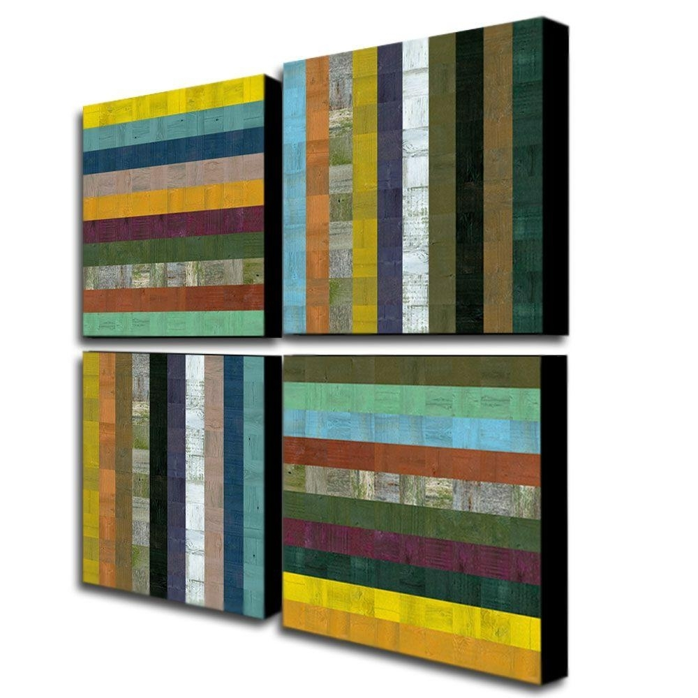 Trademark Fine Art Wooden Abstract Vmichelle Calkins 4 Panel Intended For Best And Newest Panel Wall Art (Gallery 6 of 20)