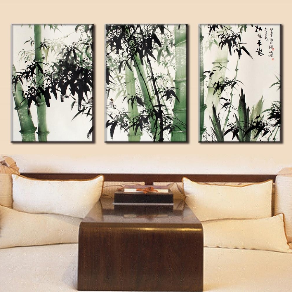 Traditional Wall Art Within Most Recent 3 Pcs/set Traditional Chinese Ink Bamboo Painting Calligraphy Canvas (View 11 of 15)
