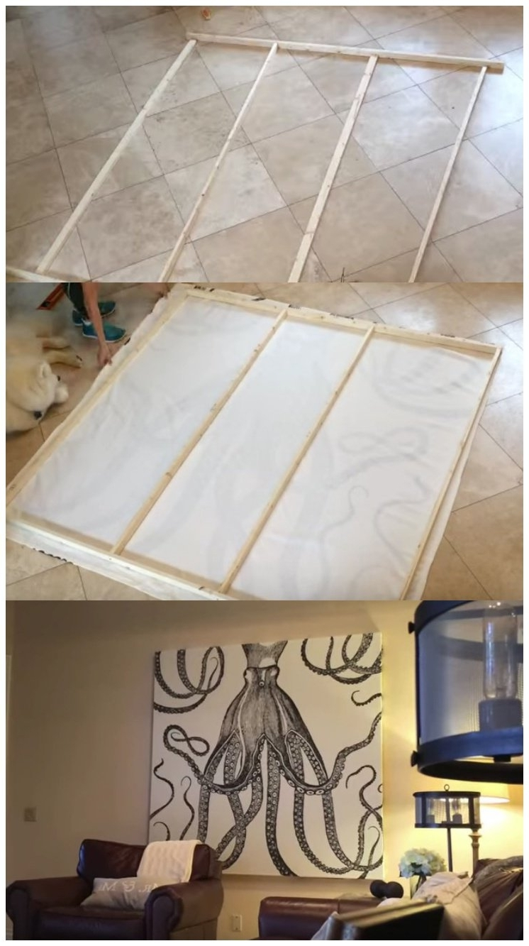 Transform A Shower Curtain Into Awesome Wall Art Pertaining To Fashionable Shower Curtain Wall Art (Gallery 7 of 20)