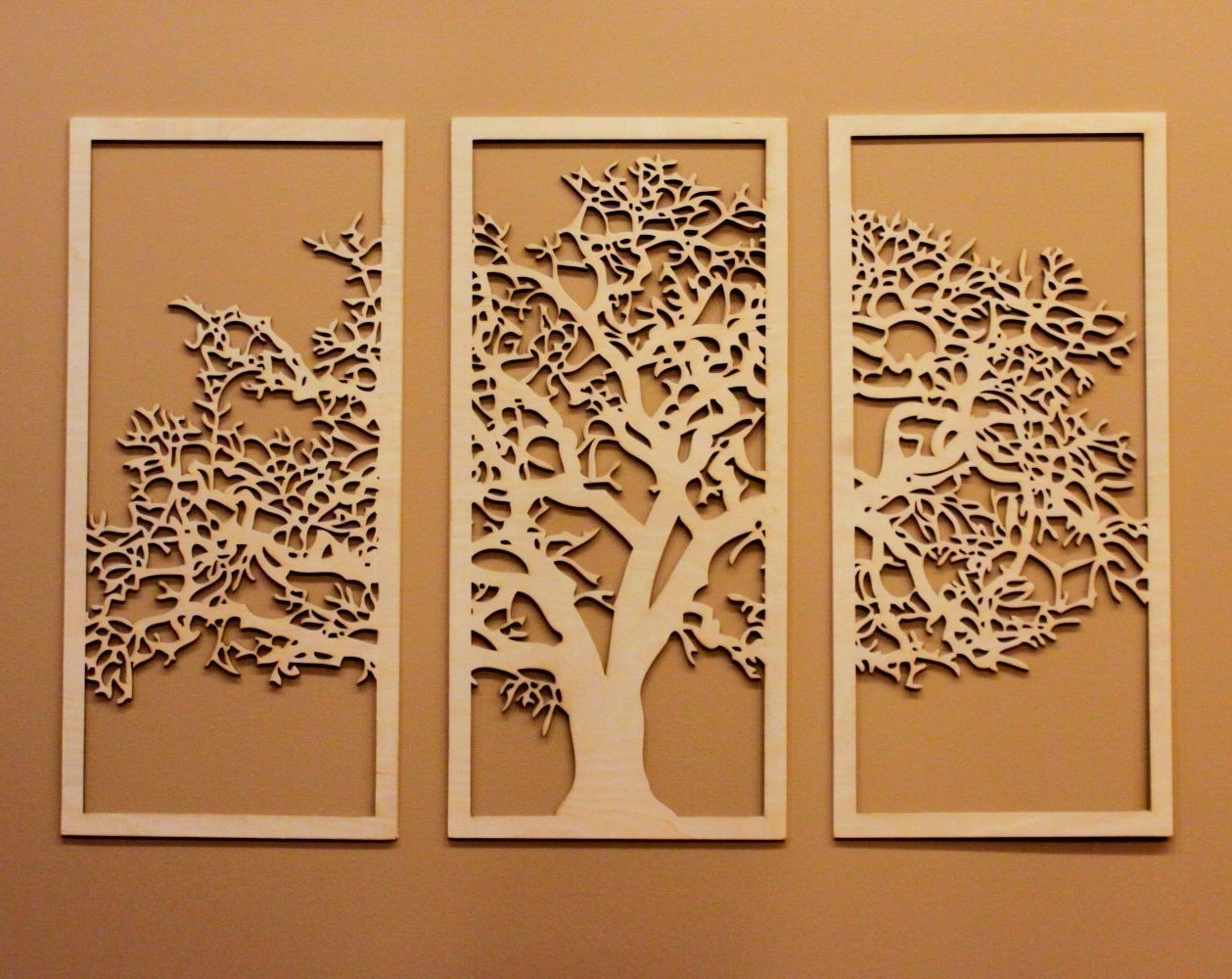 Tree Of Life 3D Maple – 3 Panel Wood Wall Art – Beautiful Living Intended For Current Wall Art Panels (View 11 of 20)