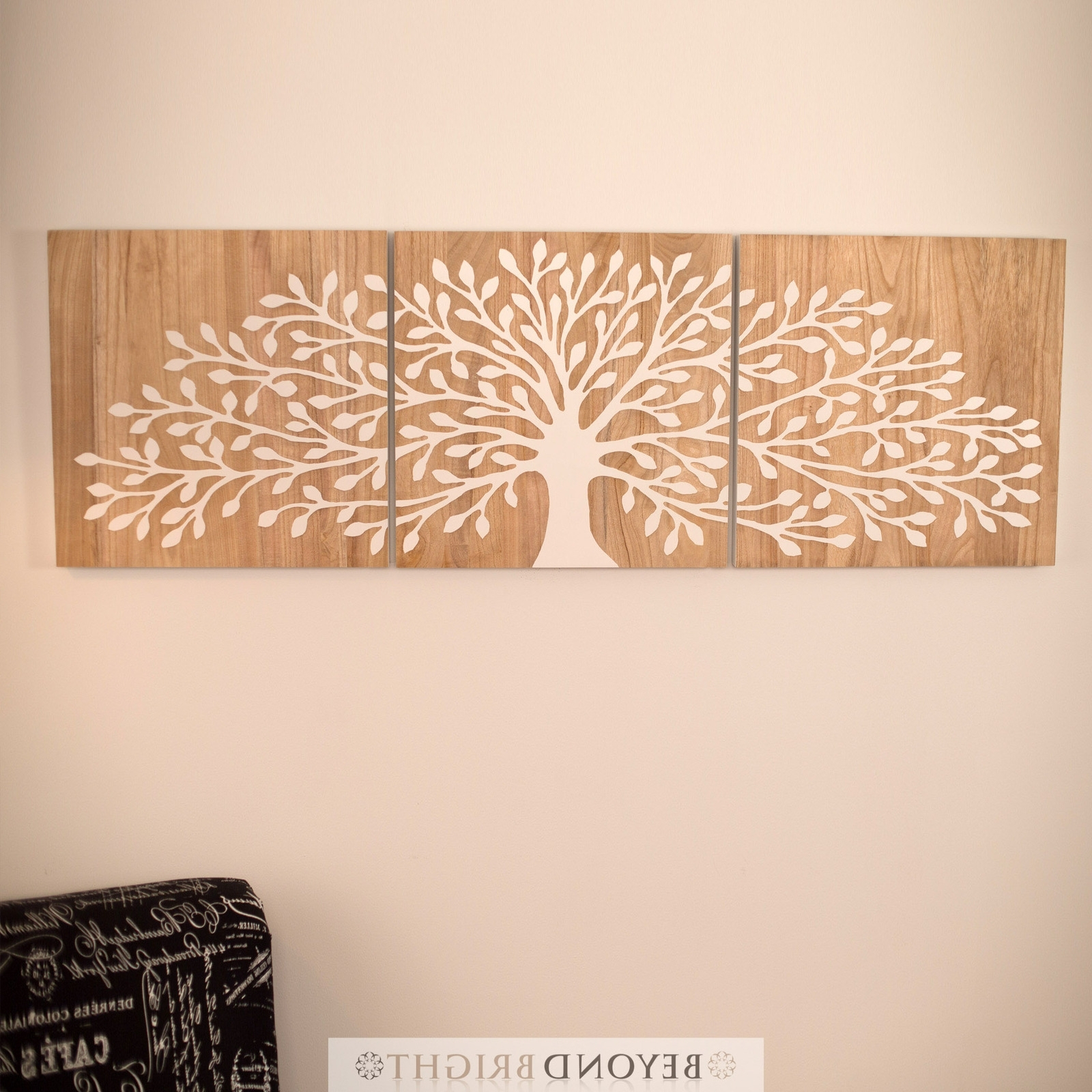 Tree Of Life Wall Art With Regard To Most Recently Released Mango Wood Wall Art Tree Of Life Wooden Timber Whit Carved Wall Art (Gallery 12 of 15)