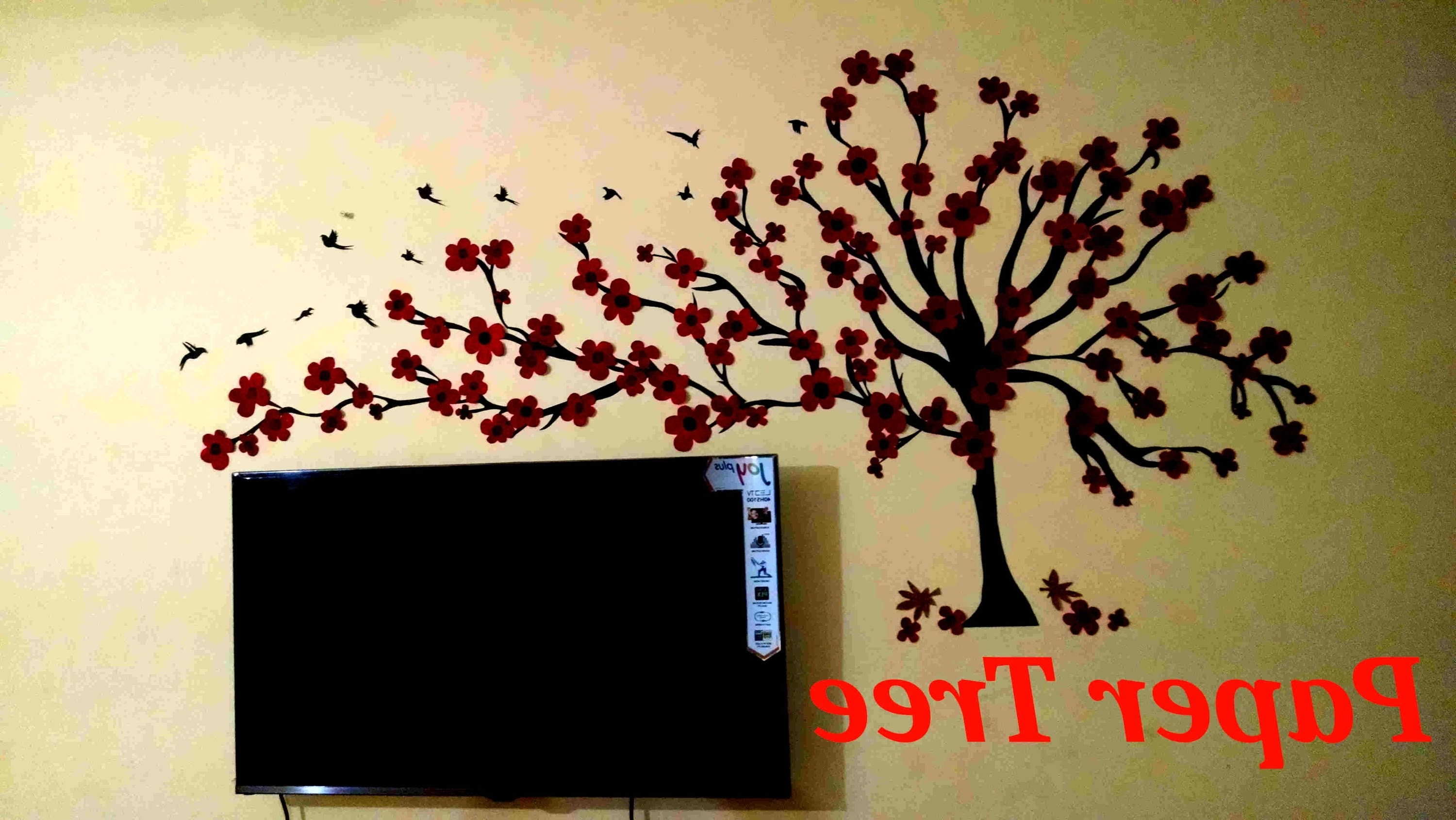 Tree Wall Art Pertaining To Fashionable Wall Tree(Paper Wall Art) – Youtube (View 9 of 15)