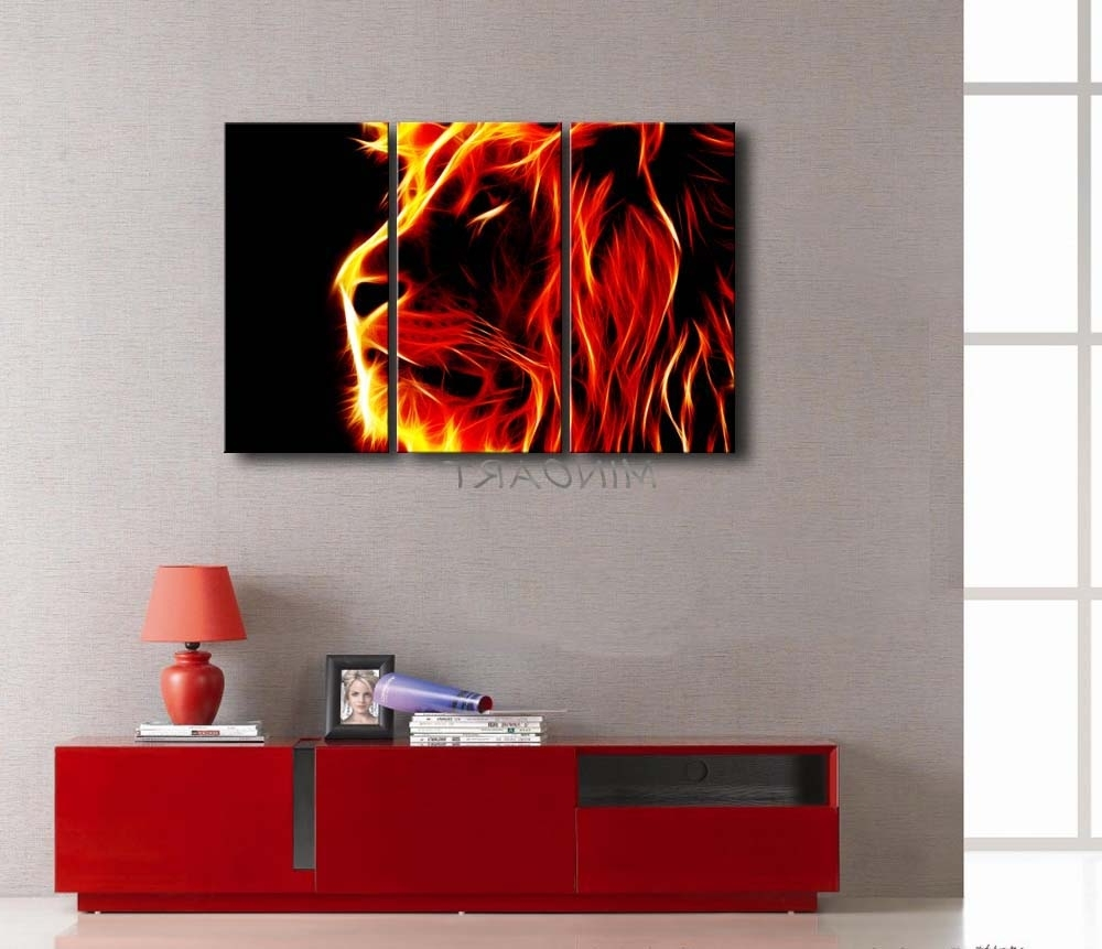 Trendy 3 Piece Yellow Orange Wall Art Painting Lion Artistic Fire Black For Orange Wall Art (Gallery 16 of 20)
