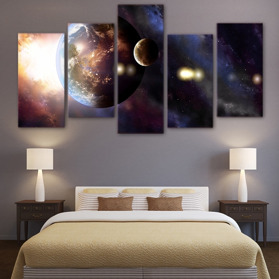 Trendy 5 Panel Wall Art Intended For Hot Sale Canvas Living Room Pictures Home Decor 5 Panel Universe (View 18 of 20)