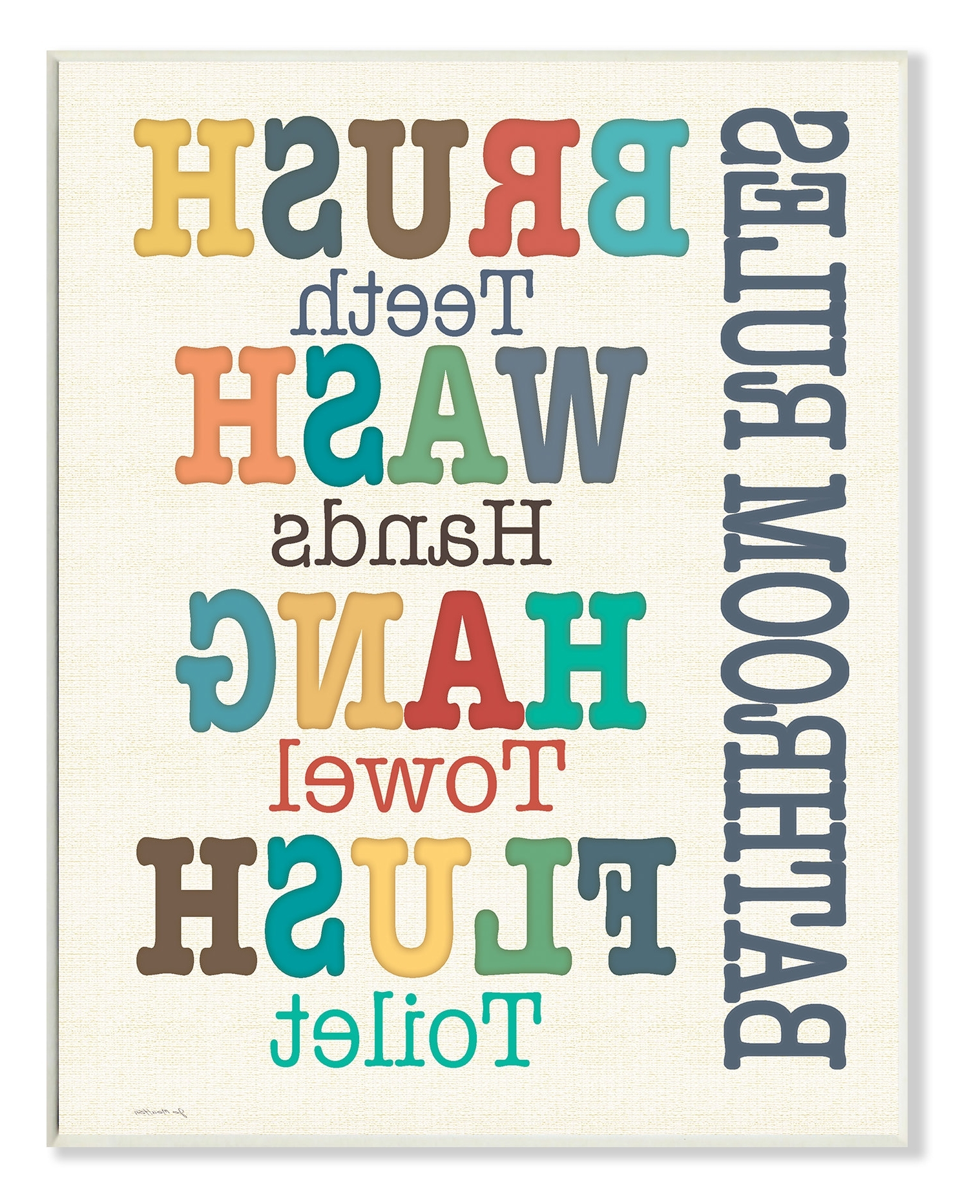 Trendy Bathroom Rules Wall Art Regarding Harriet Bee Wall Plaque 'colorful Bathroom Rules' Textual Art (View 5 of 20)