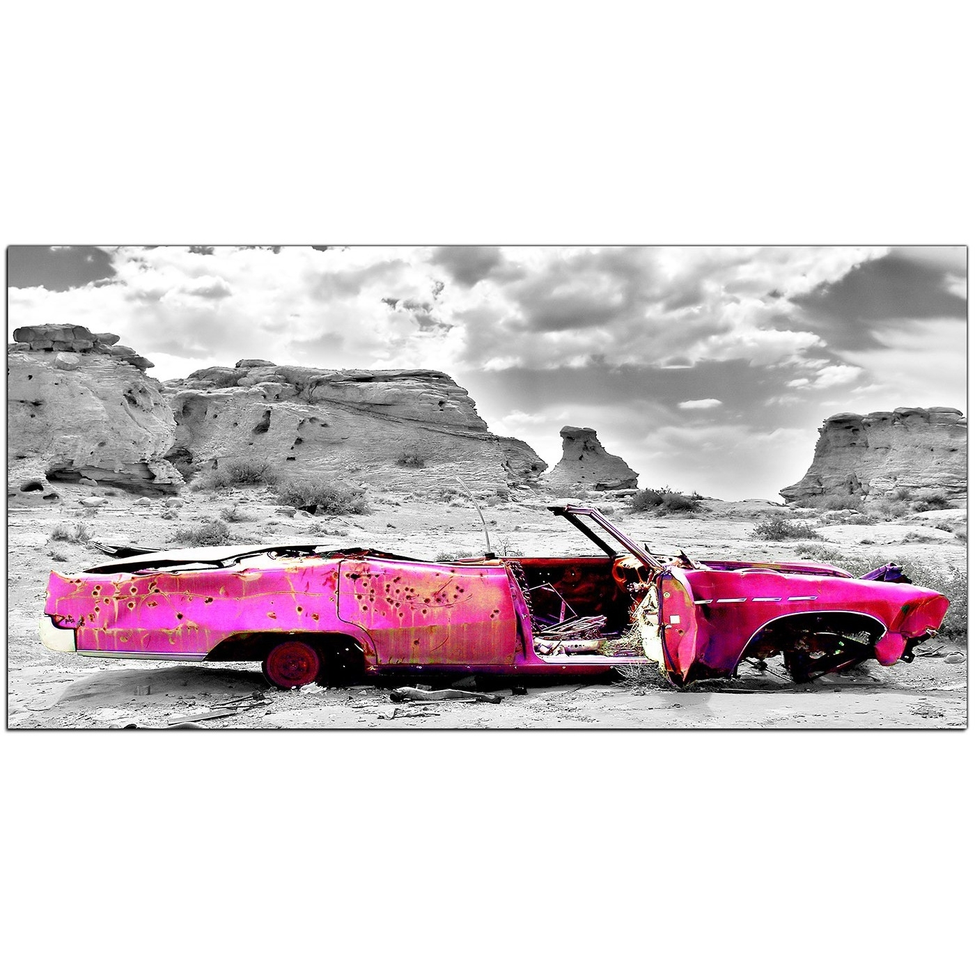 Trendy Car Canvas Wall Art Within Modern Black And White Canvas Art Of A Pink Car (View 18 of 20)