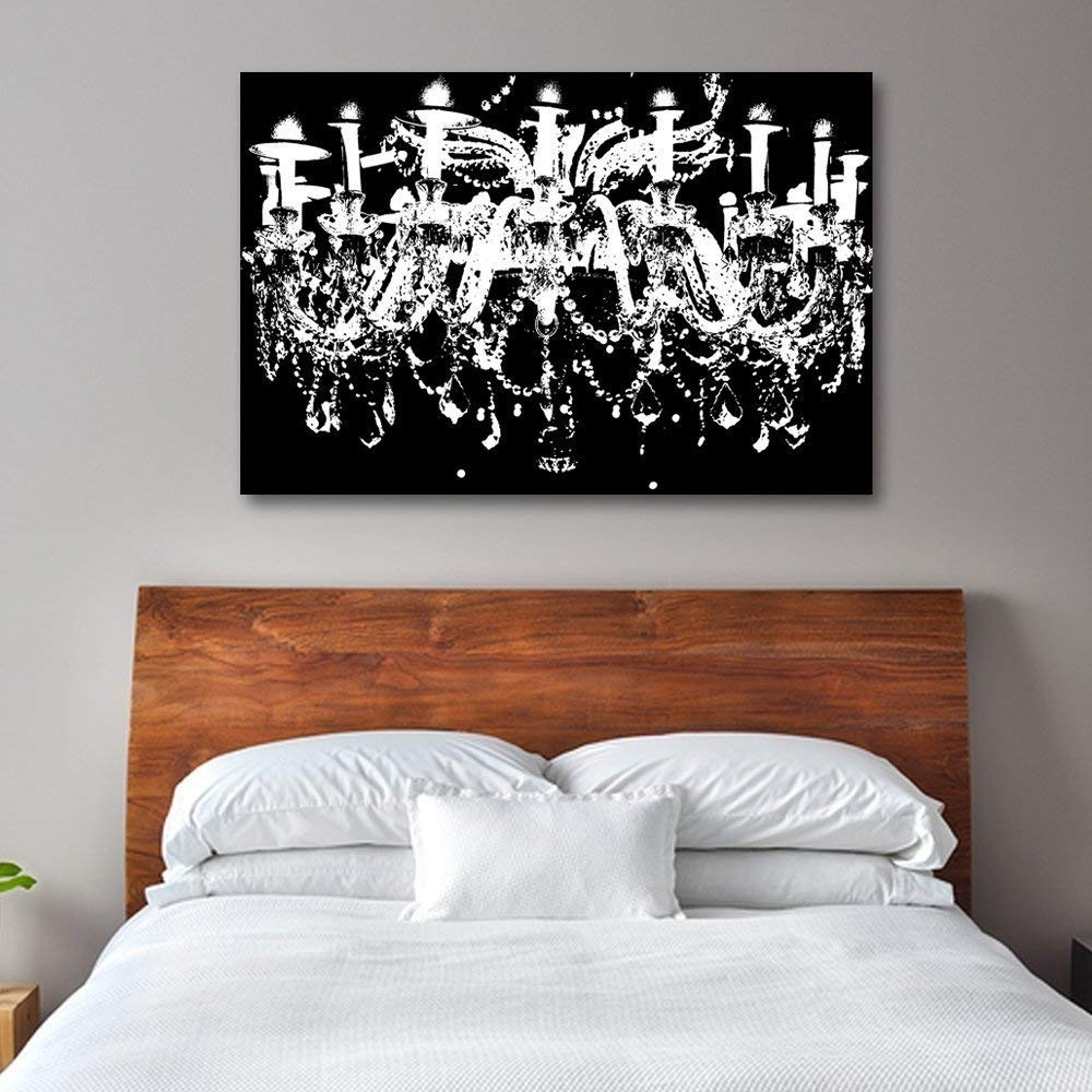 Trendy Chandelier Wall Art Pertaining To Amazon: Black & White Chandelier Wall Decoration Art Decorpiece (Gallery 5 of 20)