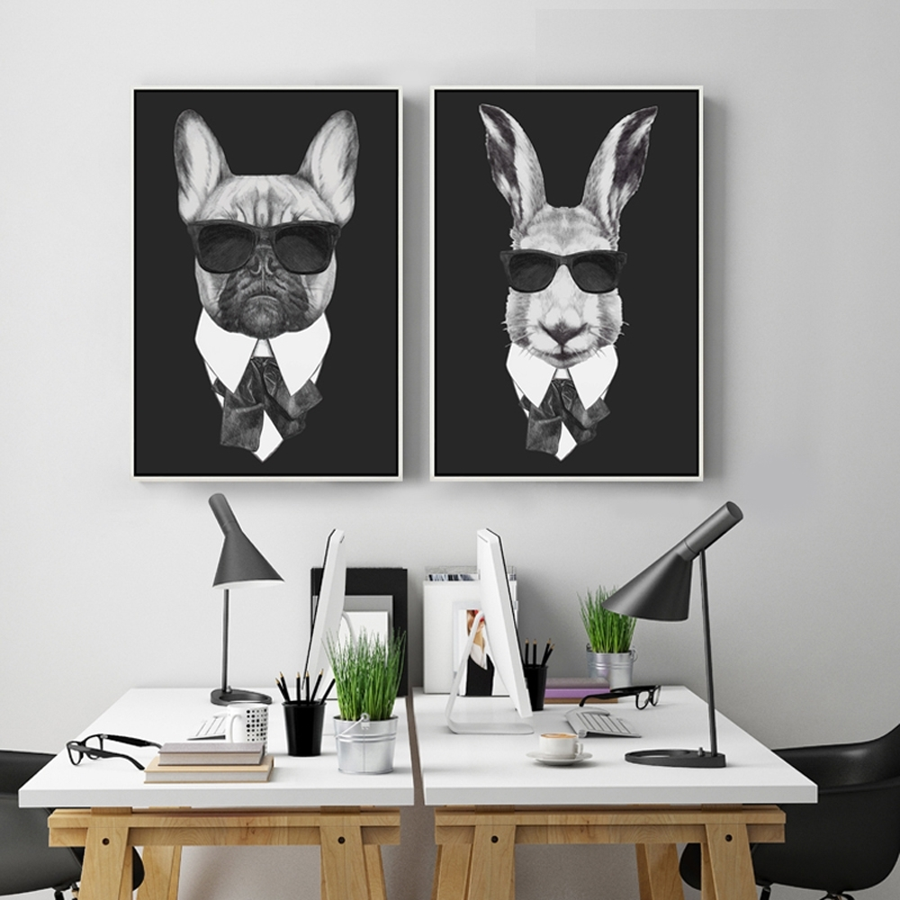 Trendy Cool Wall Art With Regard To Cool Rabbit Pig Drawing With Glasses Canvas Wall Art Print Painting (View 13 of 15)