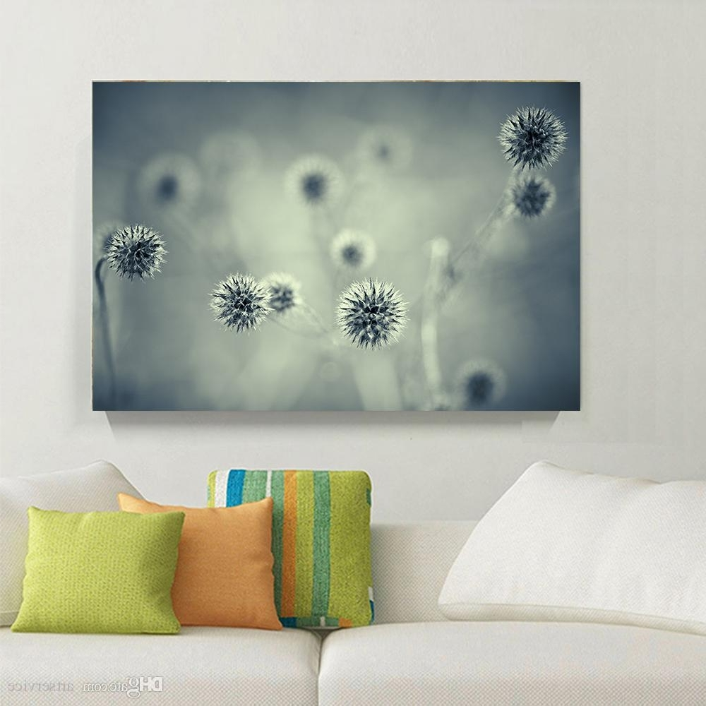 Trendy Dandelion Wall Art With Regard To 2018 1 Panels Blue Grey Landscape Dandelion Flower Home Decor Wall (View 15 of 20)