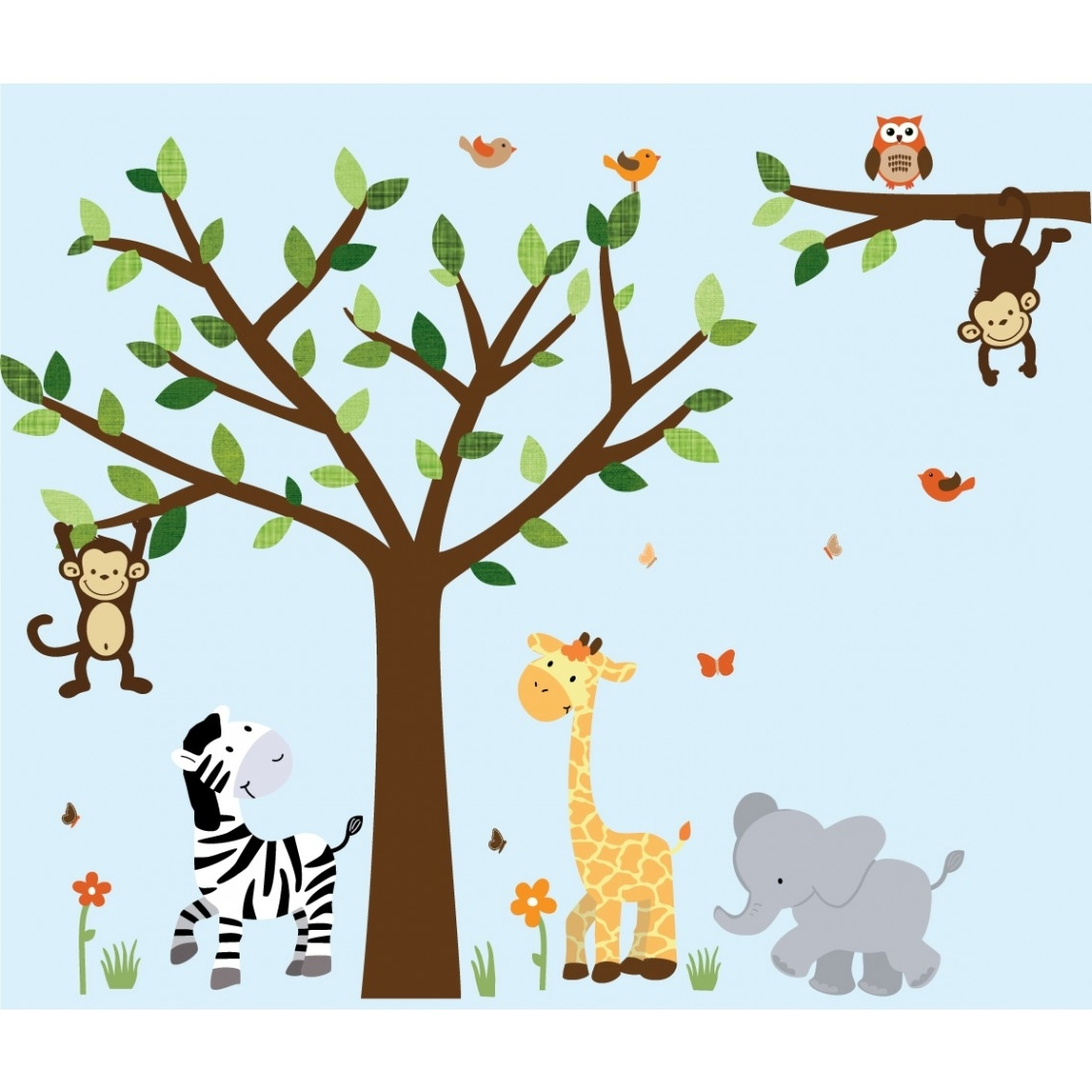 Trendy Jungle Wall Decal With Elephant Wall Art For Boys With Regard To Baby Room Wall Art (View 18 of 20)
