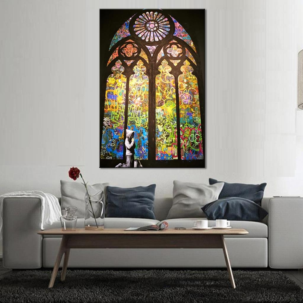 Trendy Living Room Wall Art With Regard To Banksy Art Pray In Church Living Room Wall Art Home Decorative (View 12 of 15)