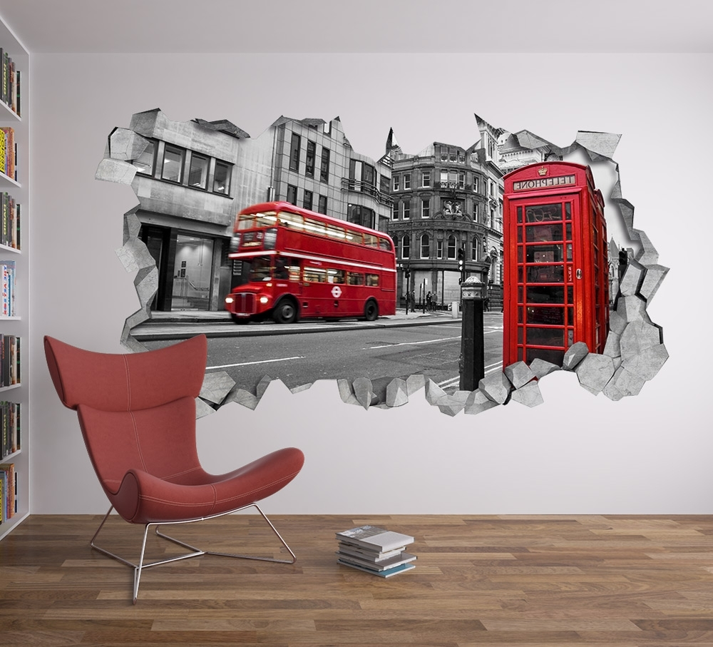 Trendy London Wall Decal 3D – Broken Wall Decal – 3D Wallpaper – Wall Decal Within London Wall Art (Gallery 6 of 20)