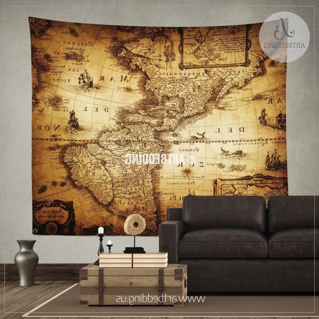 Trendy Maps Wall Art Throughout Maps. Vintage World Map Wall Art – Map Collection Around The World (Gallery 12 of 20)