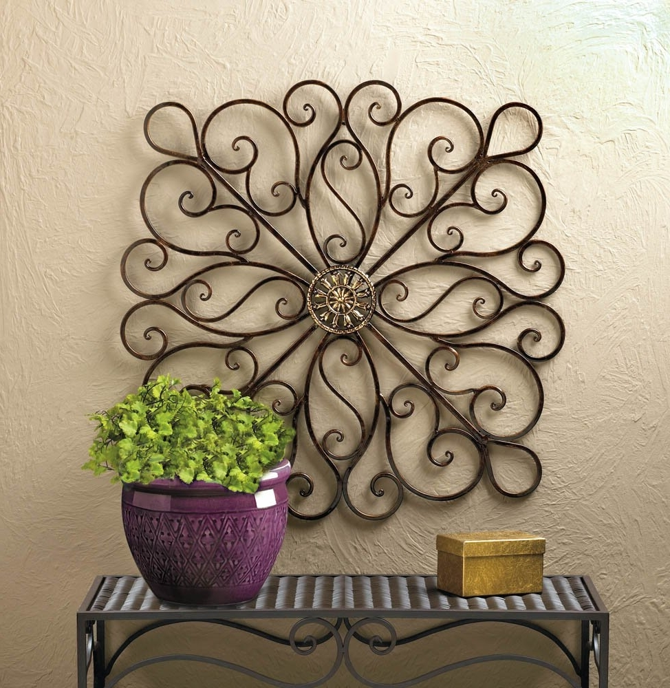 Trendy Metal Art Wall Decor, Scrollwork Modern Decorative Wrought Iron Wall Intended For Iron Wall Art (View 2 of 20)