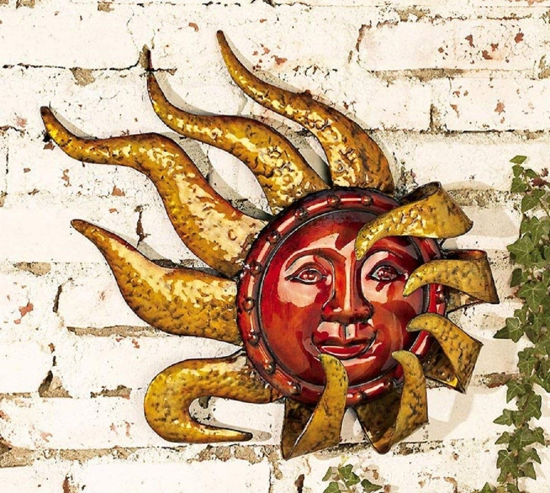 Trendy Outdoor Sun Wall Art Inside Sun Wall Hanging Outdoor Moon Decor Copper Metal Art – Awesome Home (View 14 of 15)