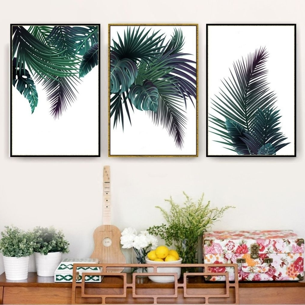 Trendy Palm Tree Wall Art Within Trending Green Palm Tree Leaves Plant Print, Wall Art, Poster (View 19 of 20)