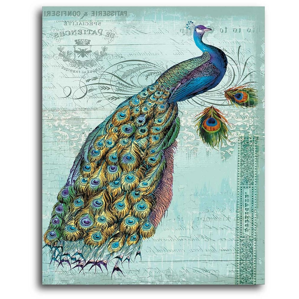 Trendy Peacock Wall Art Throughout 16 In. X 20 In (View 11 of 15)
