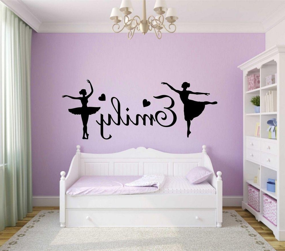 Trendy Personalised Girls Name Wall Art Sticker Ballerina Vinyl Decal Home Inside Name Wall Art (View 16 of 20)