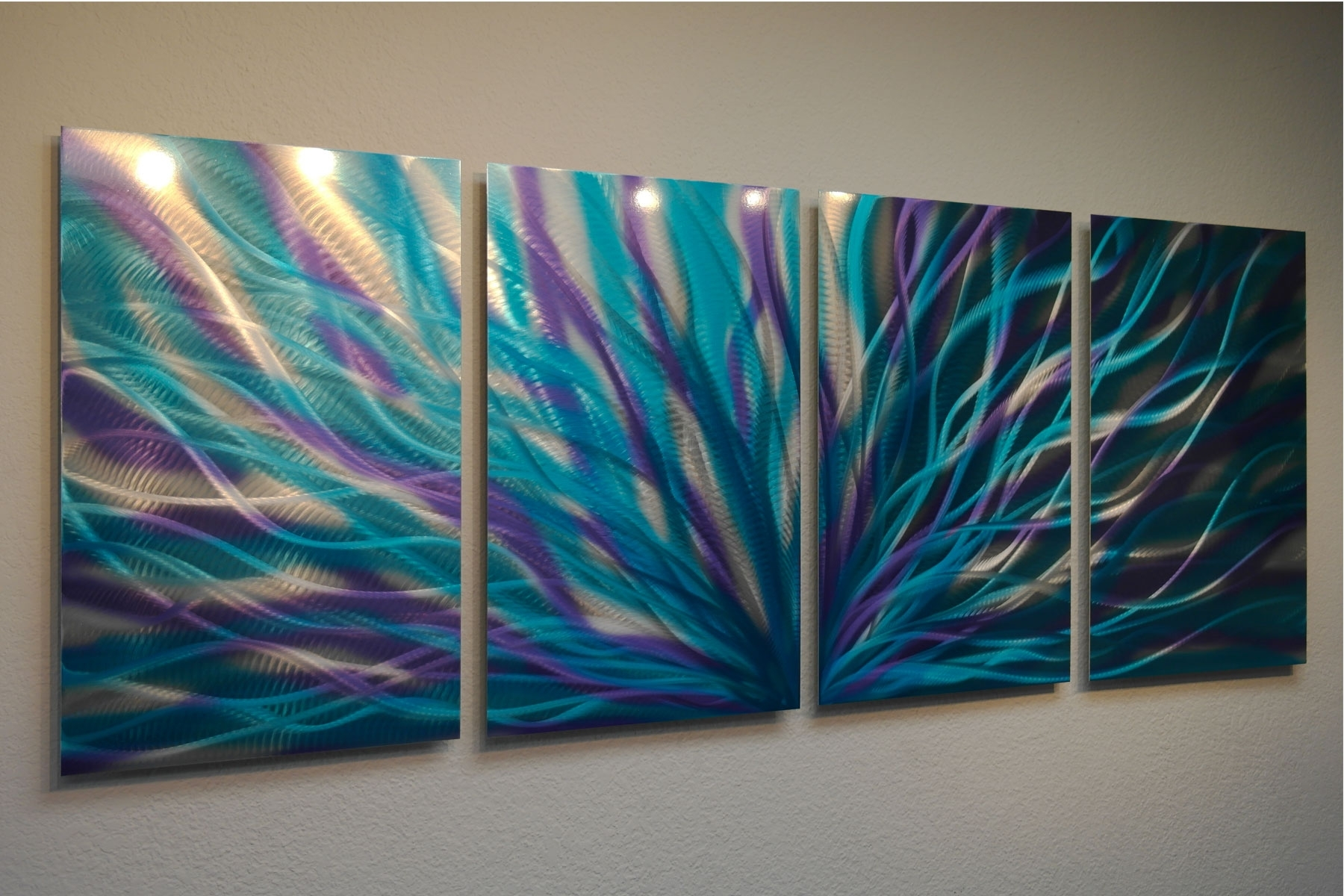 Trendy Radiance Blue Purple – Abstract Metal Wall Art Contemporary Modern Inside Teal Wall Art (View 4 of 15)