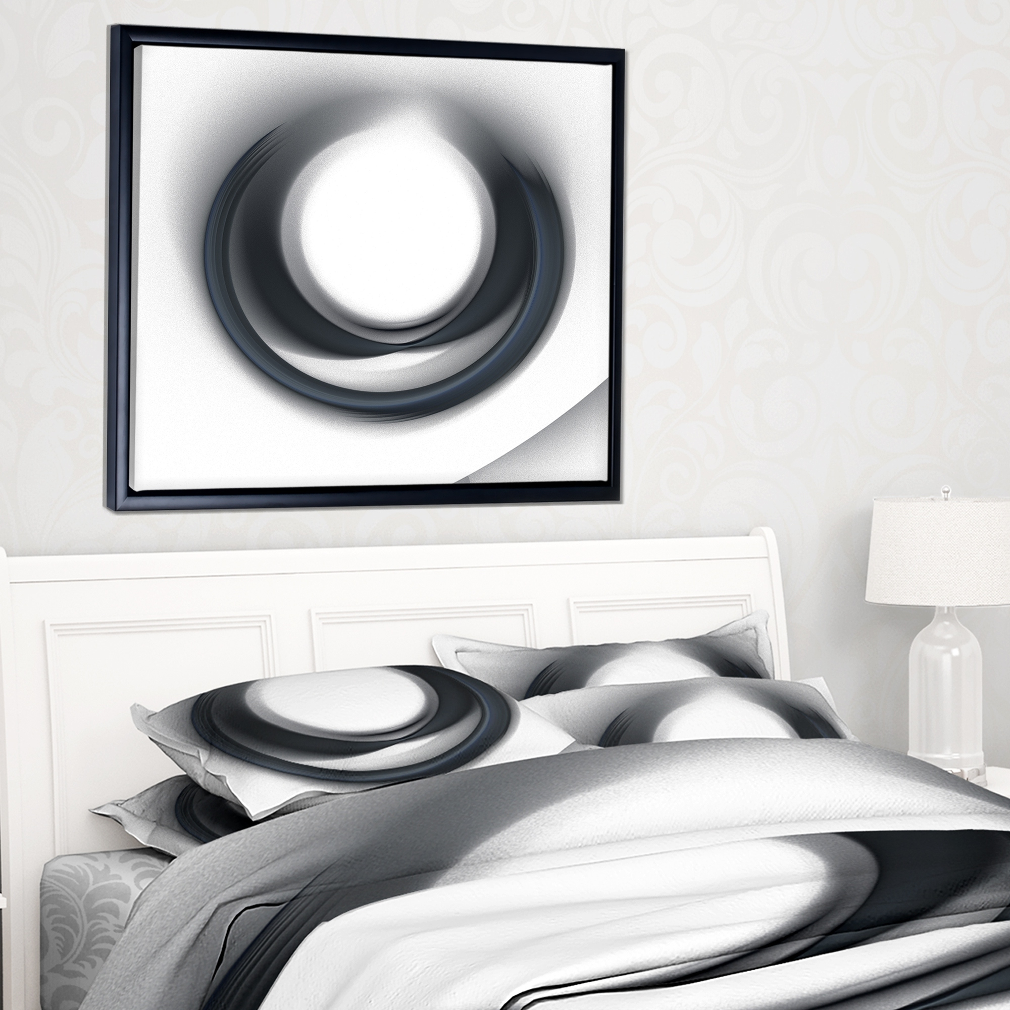 Trendy Shop Designart 'large Fractal Black Circle On White' Abstract Wall Within Circle Wall Art (View 19 of 20)