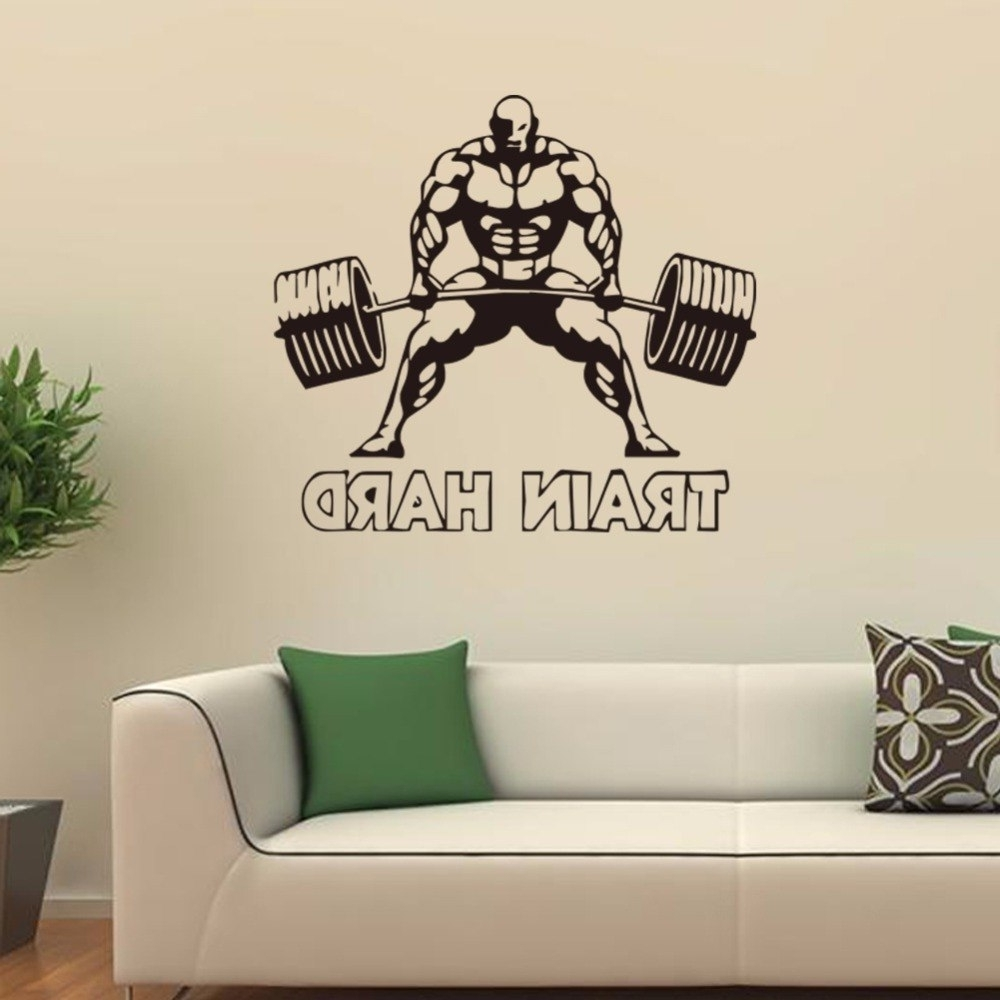 Trendy Sports Wall Art Throughout Weightlifting Sports Wall Art Decal Train Hard Home Decor Boys Rooms (View 6 of 20)