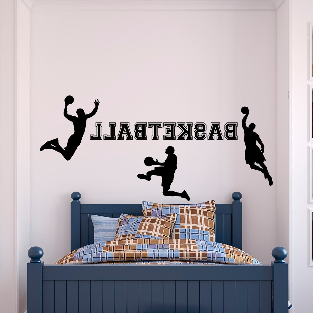 Trendy Sports Wall Art Within Basketball Wall Decal Sports Wall Vinyl Stickers Basketball Player (Gallery 14 of 20)