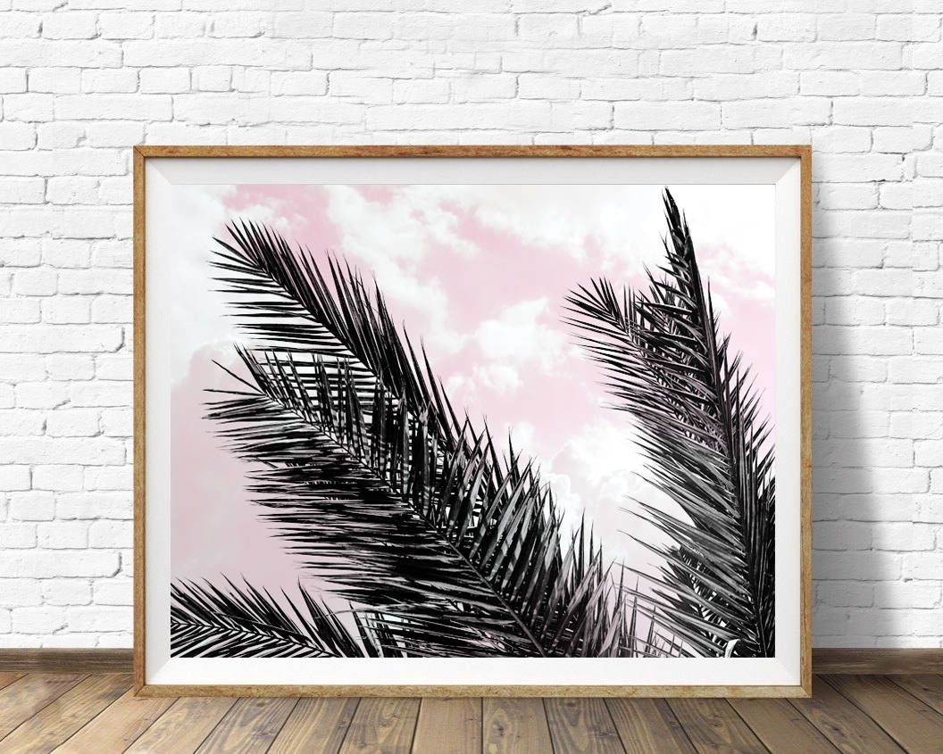 Trendy Tropical Wall Art For Palm Leaves Print, Tropical Wall Art, Pink Sky Poster, Scandinavian (View 14 of 20)