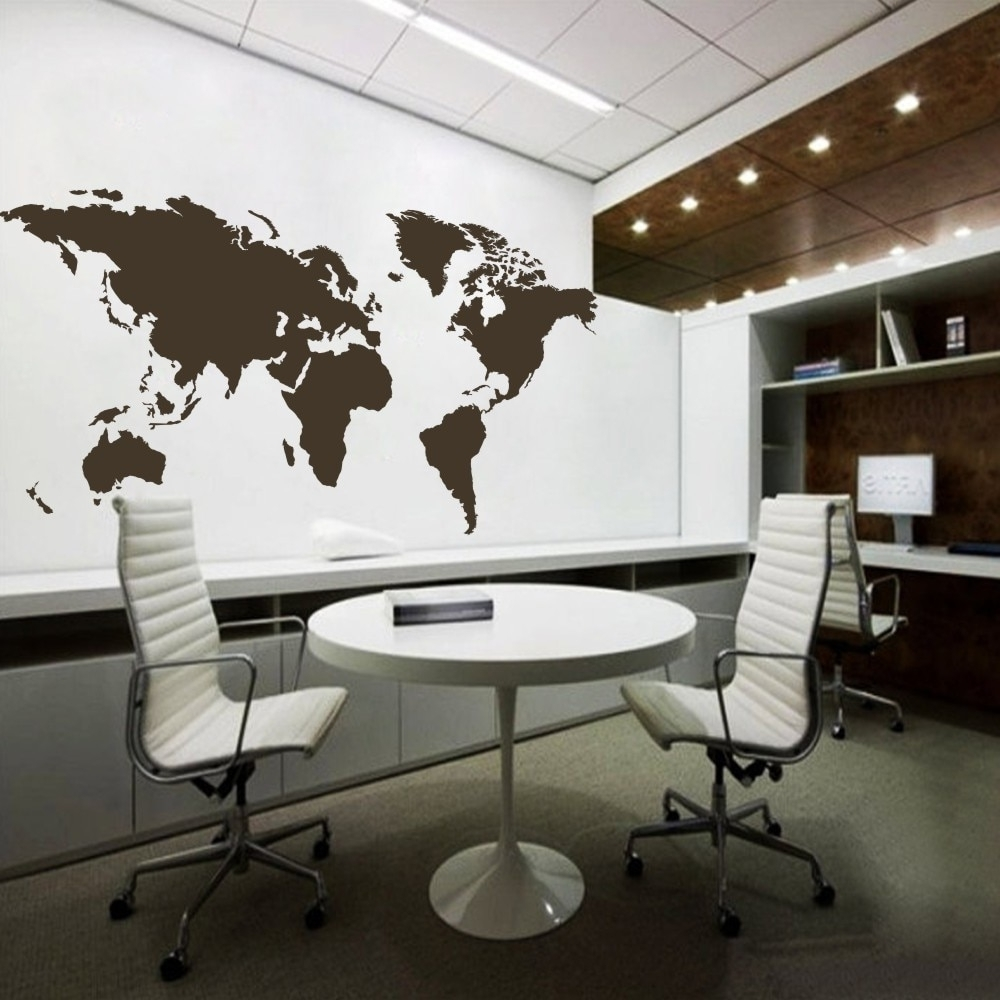 Trendy Vinyl Wall Art Wall Sticker Atlas World Map Wall Decal For Home Pertaining To Vinyl Wall Art World Map (Gallery 15 of 20)
