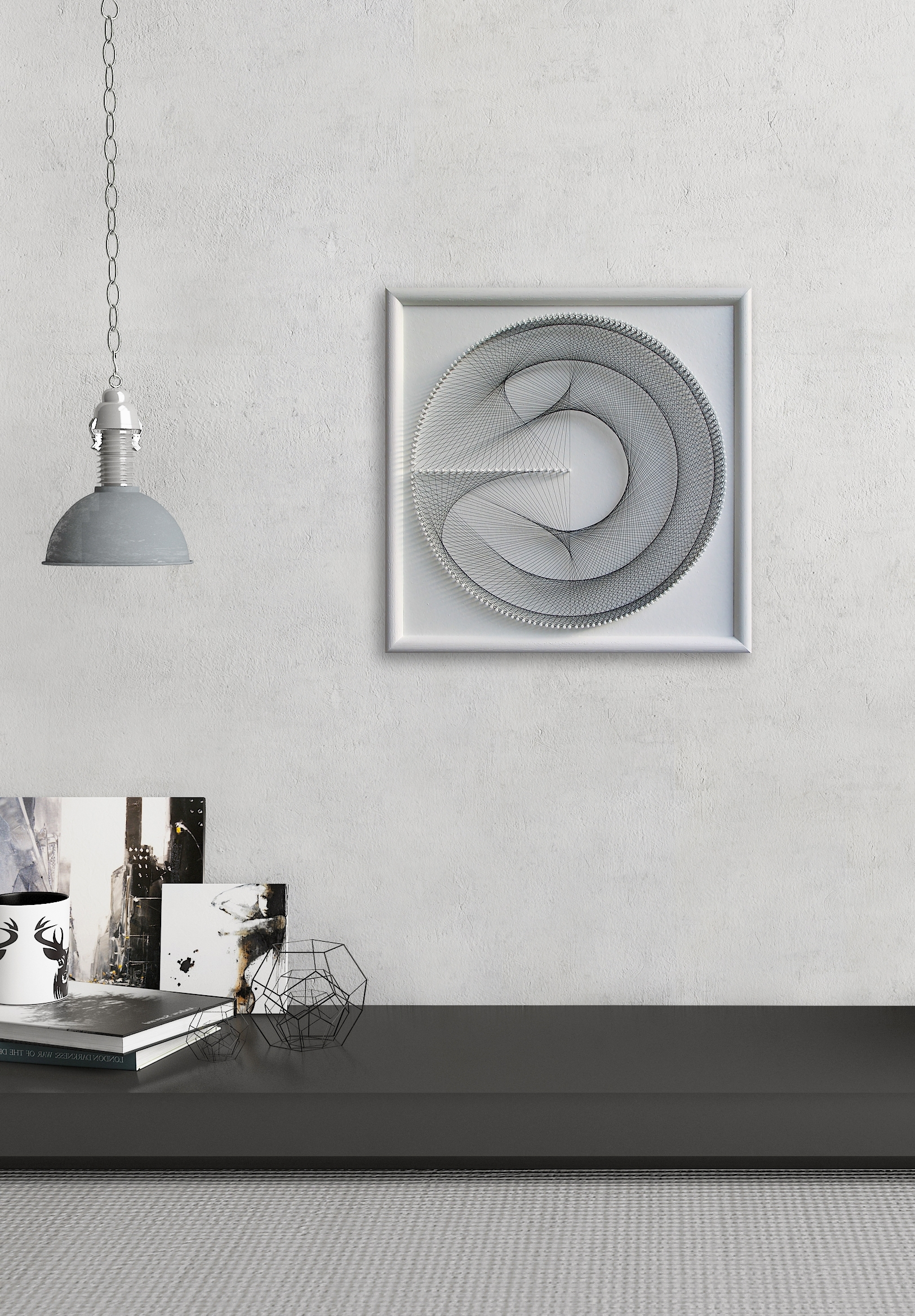 Trendy White Wall Art Pertaining To Elegant Geometric String Art – Gift For Her – White Wall Art Zen (View 14 of 20)