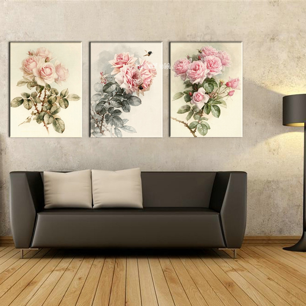 Triptych Canvas Prints Modern Girly Flower Painting Set Supplier Intended For Most Current Triptych Wall Art (View 13 of 20)