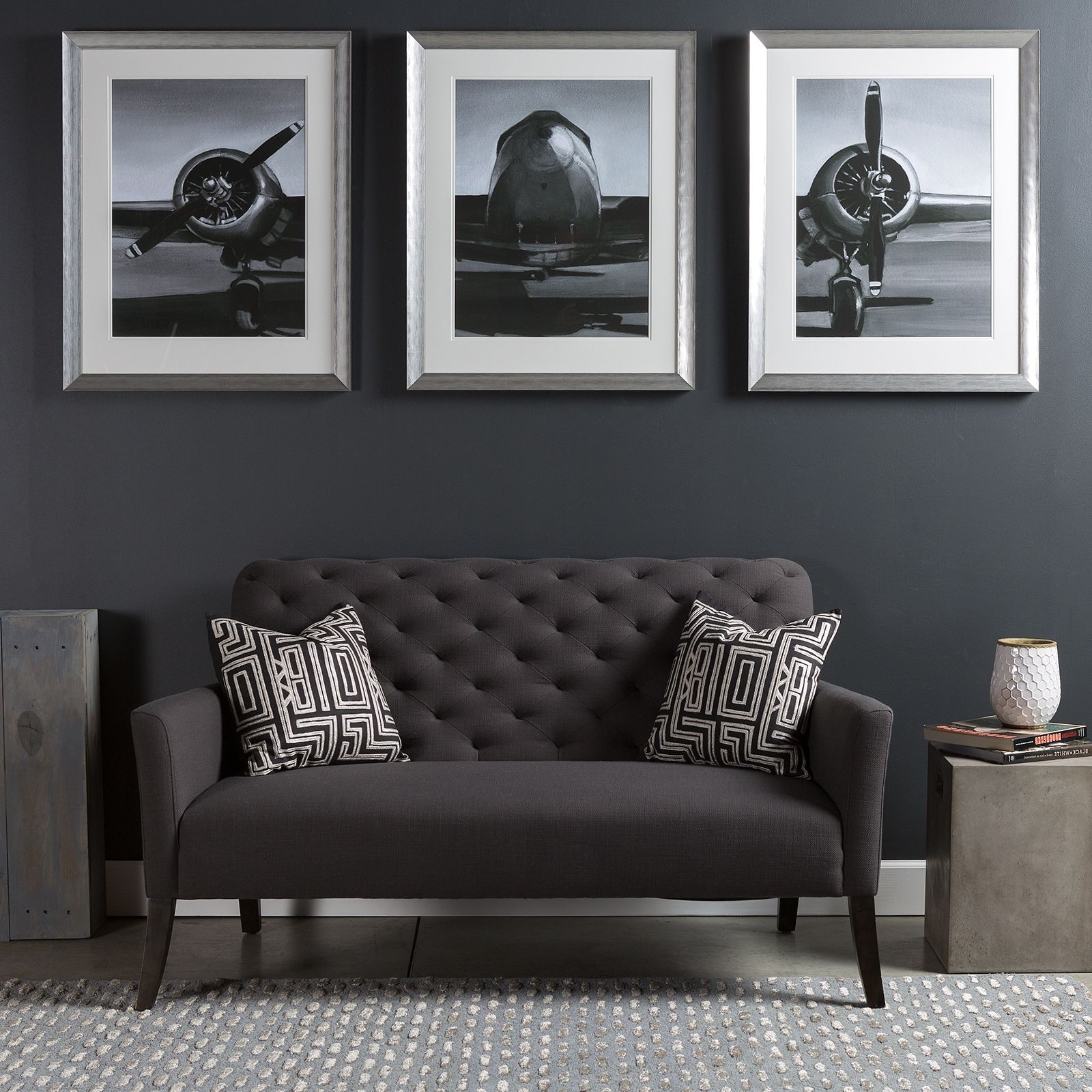 Triptych Wall Art Piece With A Modern Industrial Flare; A Series Of Inside Most Up To Date Airplane Wall Art (View 19 of 20)