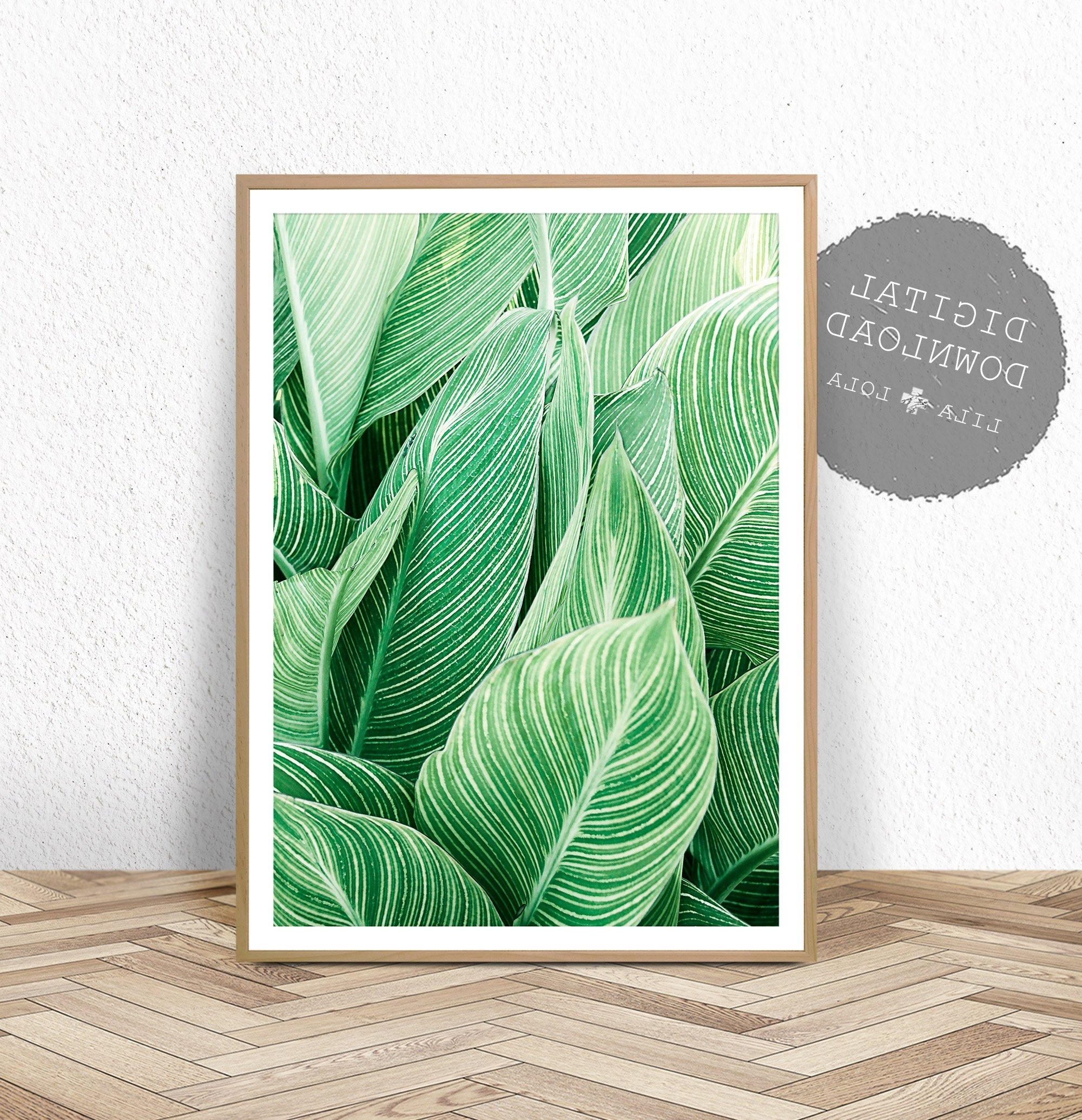 Tropical Plant Wall Art, Leaf Print, Printable Digital Download Regarding Trendy Tropical Wall Art (View 15 of 20)