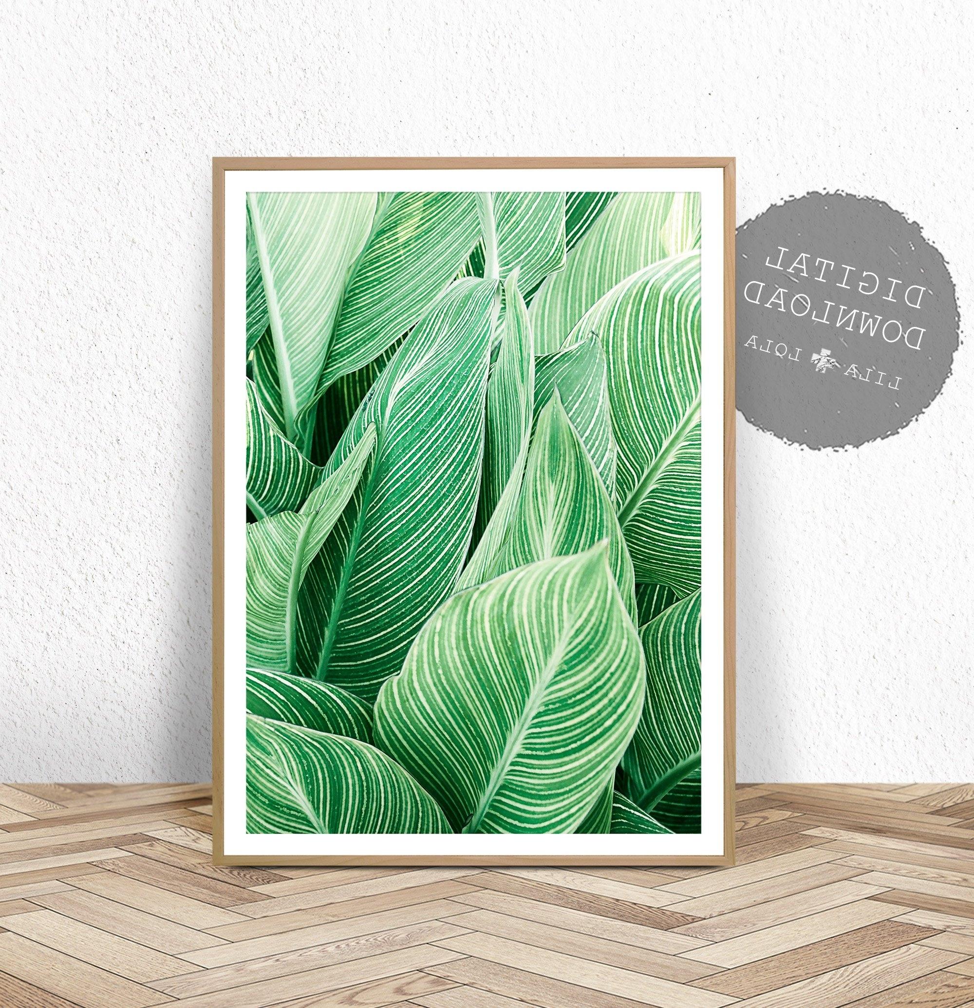 Tropical Plant Wall Art, Leaf Print, Printable Digital Download Regarding Trendy Tropical Wall Art (Gallery 15 of 20)
