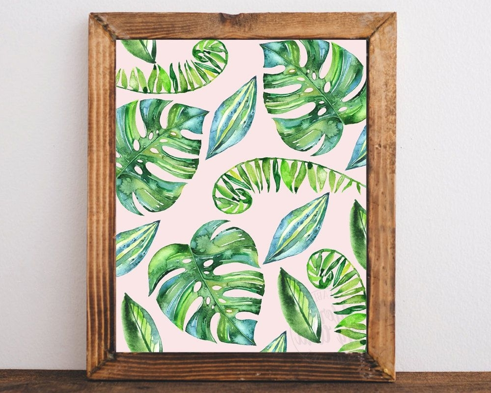 Tropical Wall Art Throughout Preferred Tropical Leaf Print, Leaves, Palm, Tropical Decor, Tropical Wall Art (View 14 of 20)