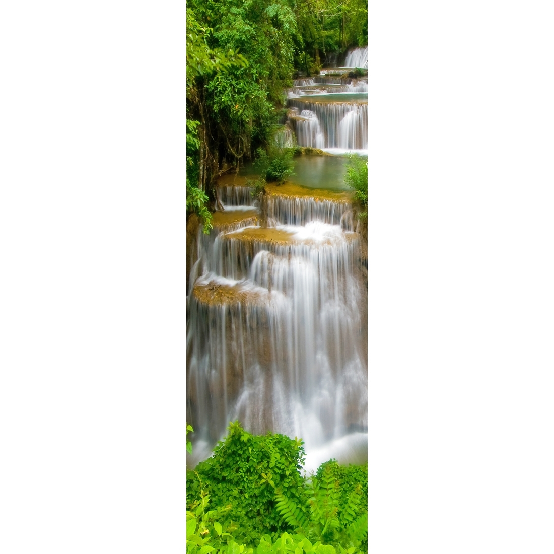 Tropical Waterfall – Vertical, Original (Long) – Canvas Print – Wall Inside Fashionable Long Canvas Wall Art (Gallery 18 of 20)