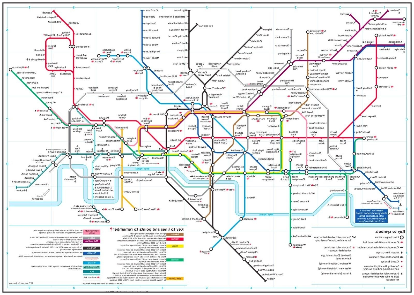 Tube Map Wall Art Inside Newest Detailed London Underground Tube Map Wall Art Large Poster Print A (View 16 of 20)